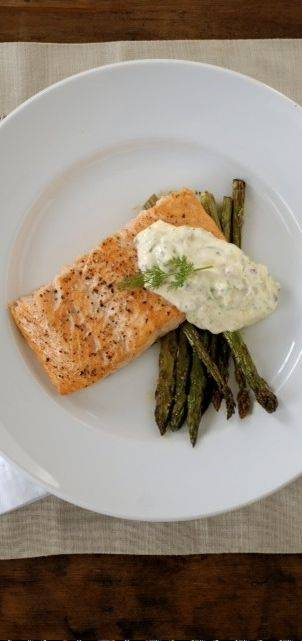 Roasted Salmon and Asparagus with Lemon-Caper-Dill Aioli is a delicious gluten-free dinner.