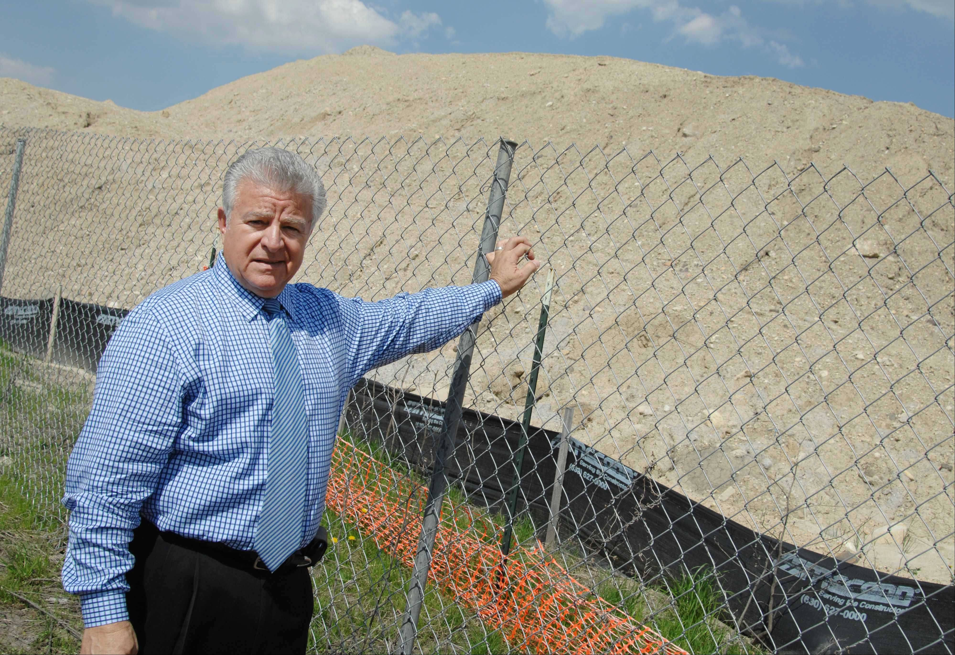 Carol Stream Village President Frank Saverino said Wednesday during his annual State of the Village address that a flood control project planned at Armstrong Park will help mitigate flooding in the area — but won't solve it completely. A large dirt mound sits at the construction site now, but the project is expected to begin this year.