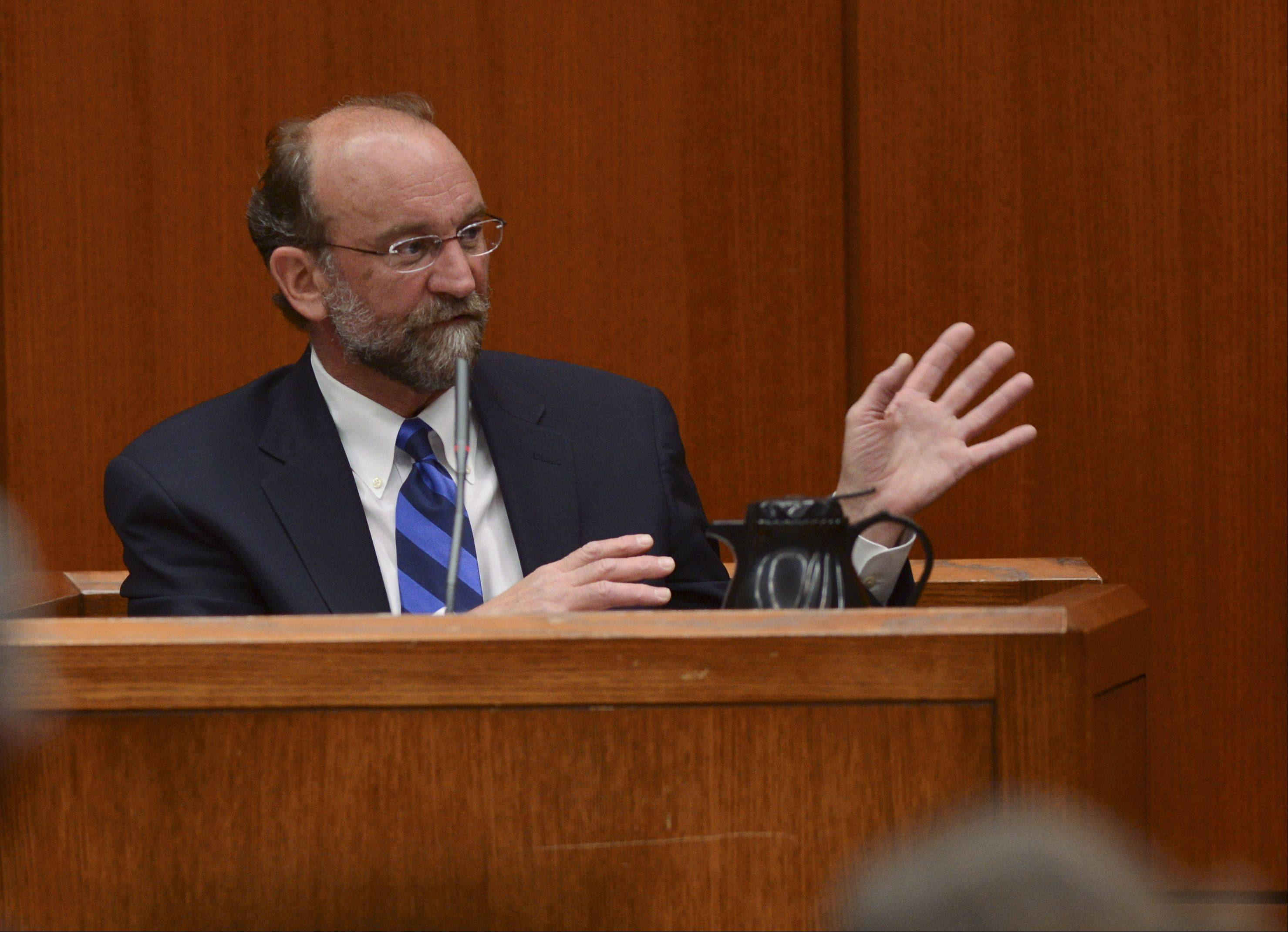 Clinical psychologist Dr. John Murray testifies about the mental state of convicted murderer Jacob Nodarse, during the murder trial of Johnny Borizov at the DuPage County courthouse in Wheaton yesterday.