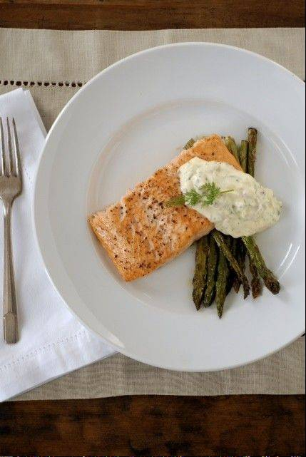 Roasted Salmon and Asparagus with Lemon-Caper-Dill Aioli