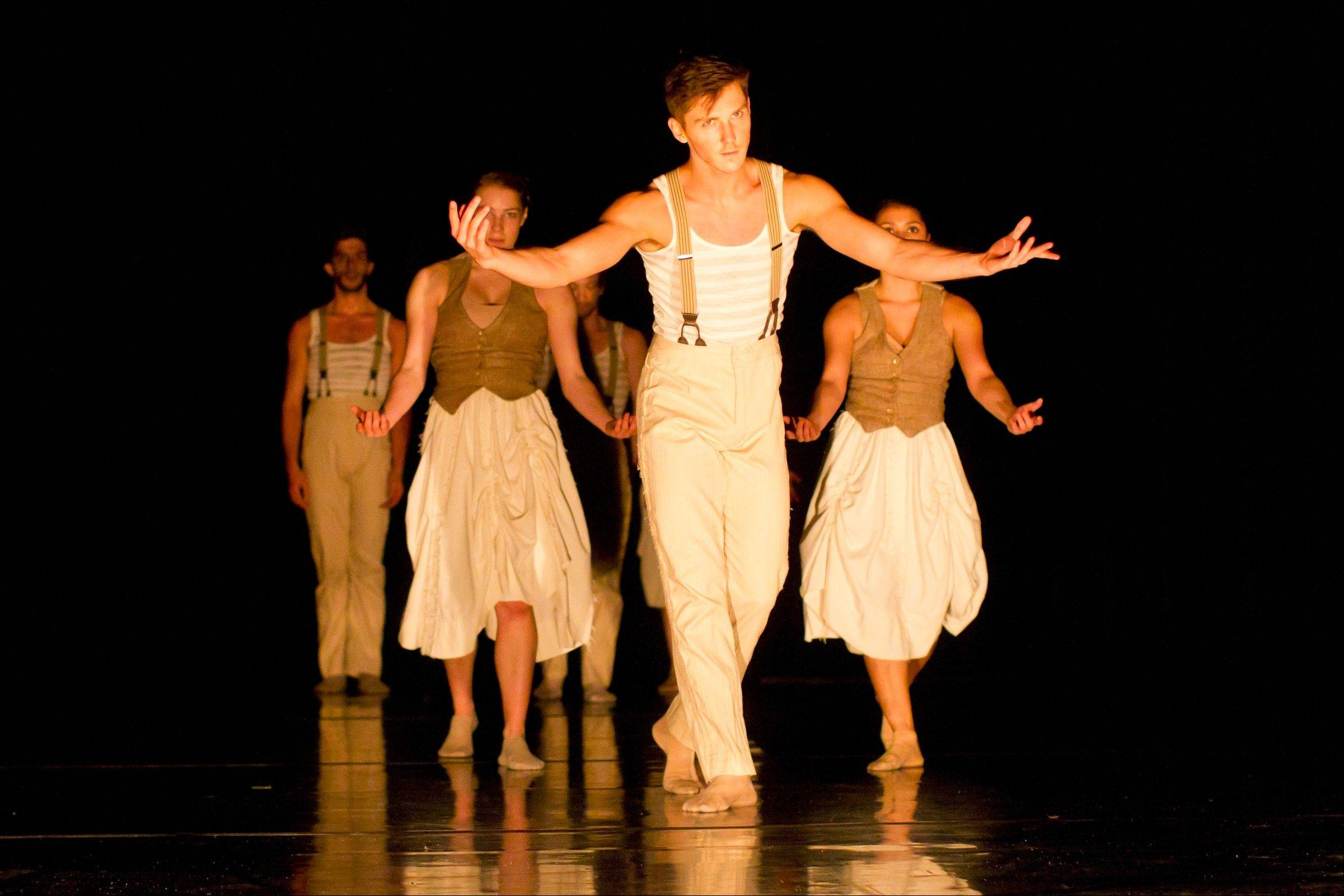 "Hubbard Street 2 dancers Emilie Leriche, Andrew Wright and Alicia Delgadillo perform in Penny Saunders' ""Bonobo."" The troupe performs Saturday at Fermilab in Batavia."