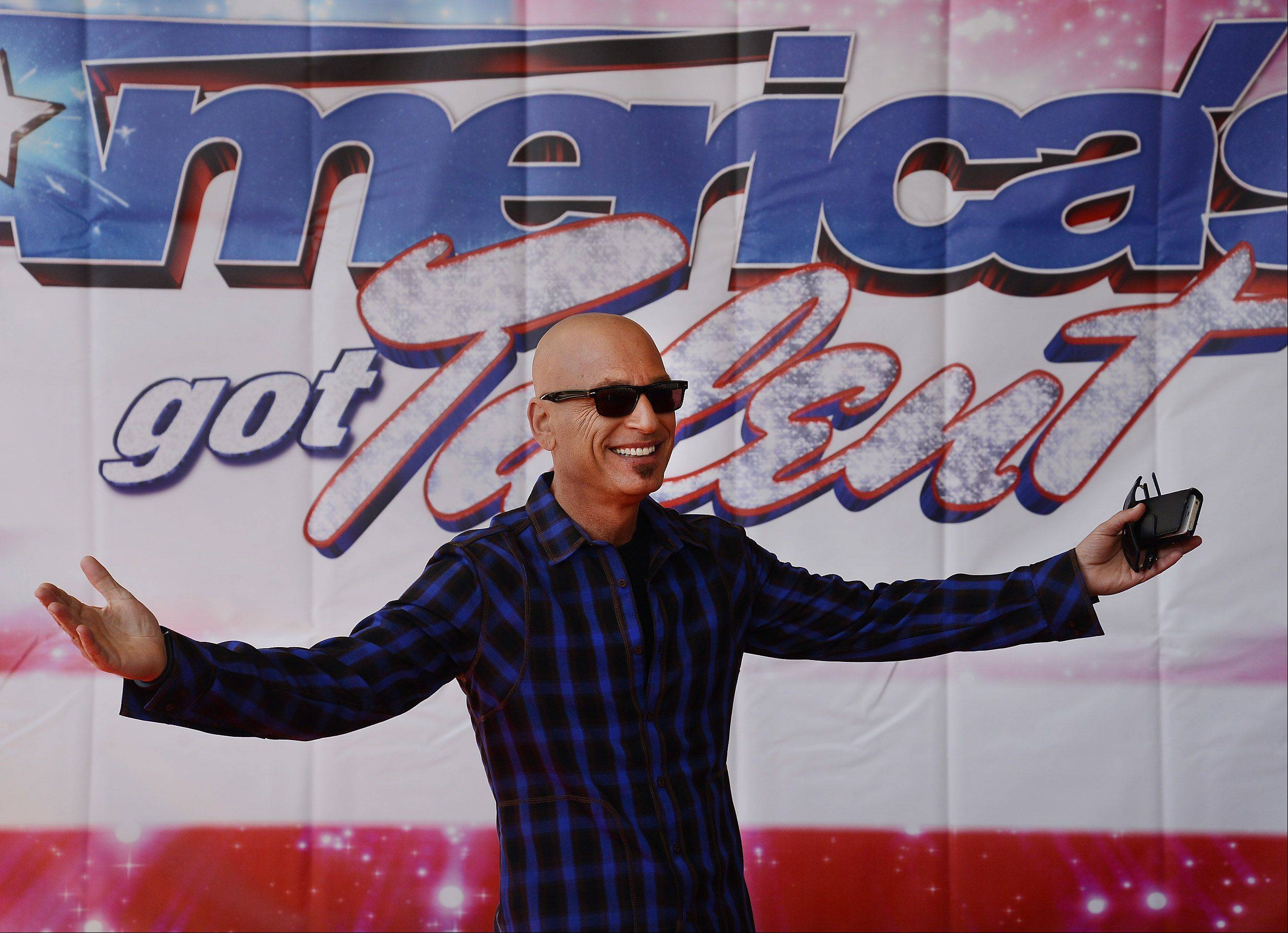 "Howie Mandel arrives at the ""America's Got Talent"" auditions at the Rosemont Theatre. Mandel and his three fellow hosts are in town through Friday for tapings of the hit NBC competition show."