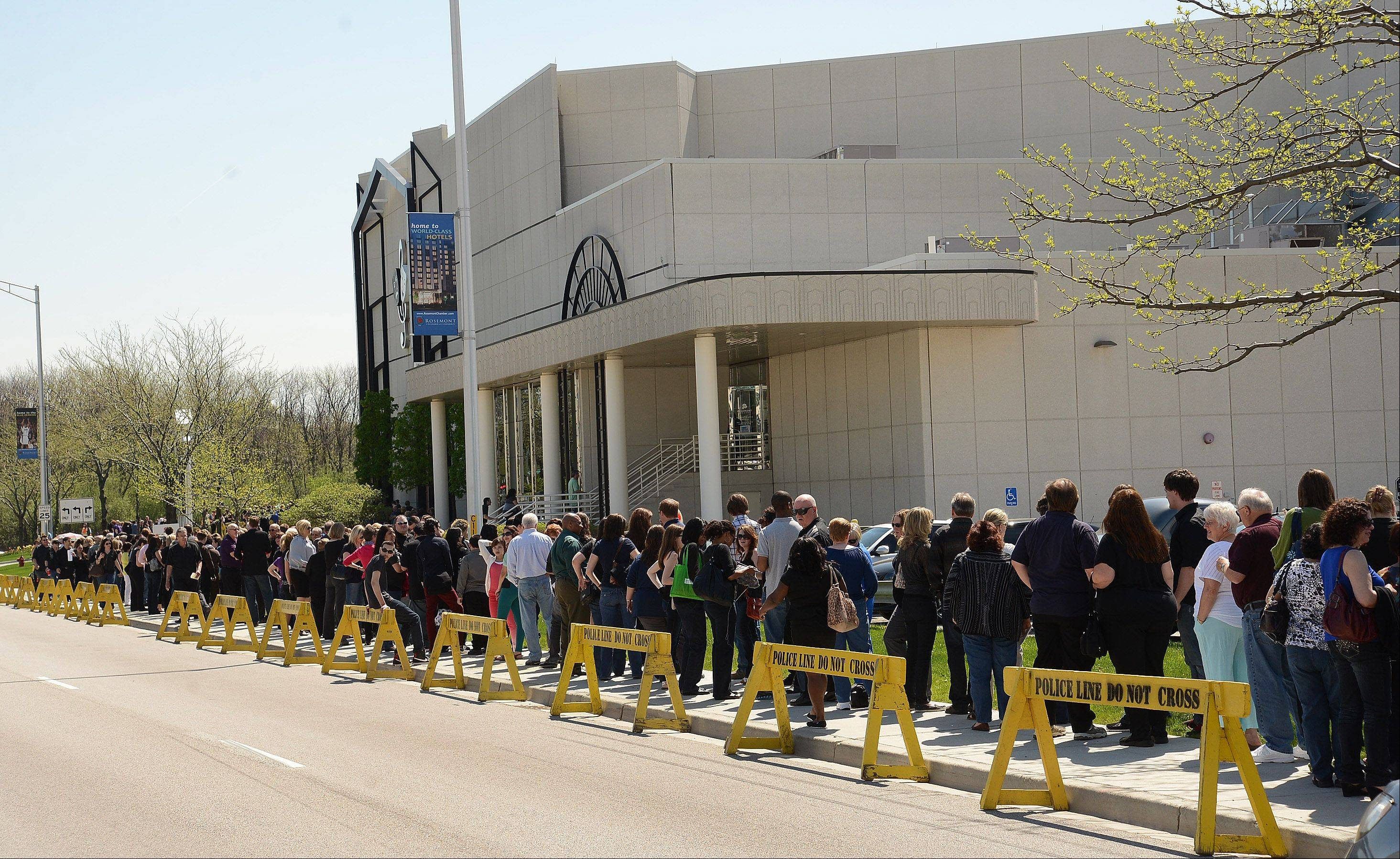 "The line to get in to watch the ""America's Got Talent"" auditions at the Rosemont Theatre wrapped around the block and beyond Wednesday."