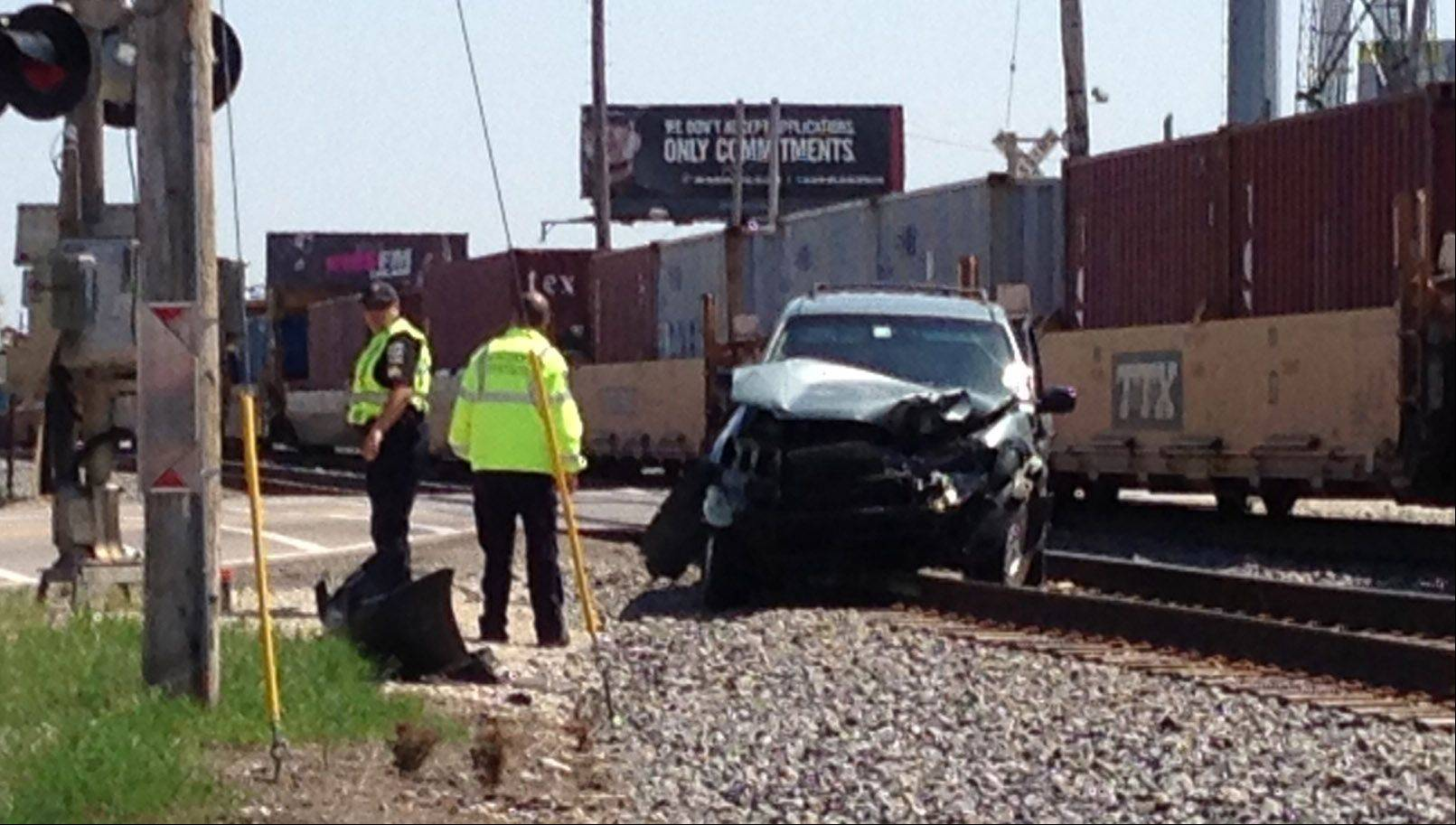 Emergency crews on the scene of a crash involving a train and an SUV at routes 83 and 137 in Grayslake Wednesday afternoon.