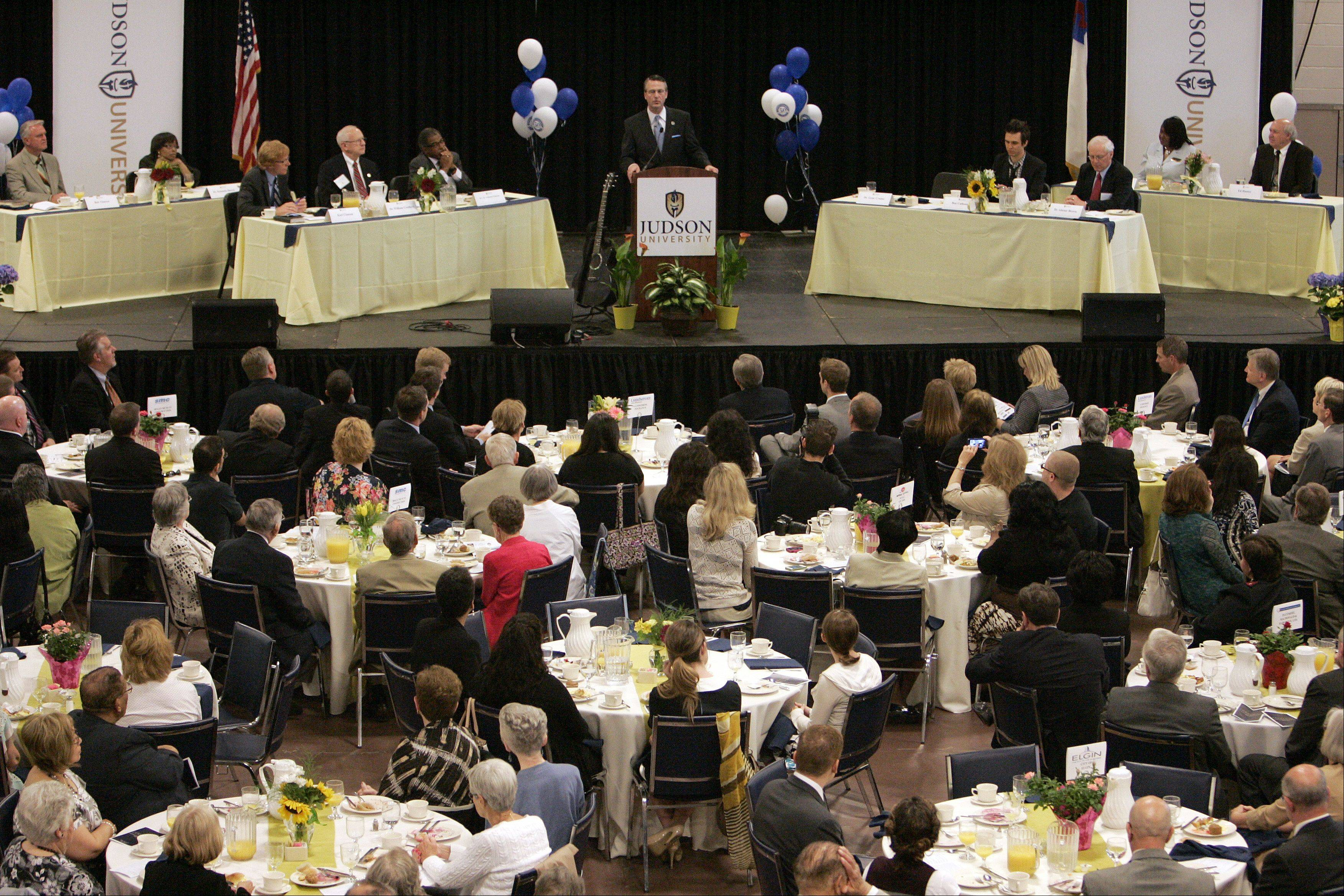 Judson University President Gene Crume Jr. speaks during Wednesday's prayer breakfast in Elgin.