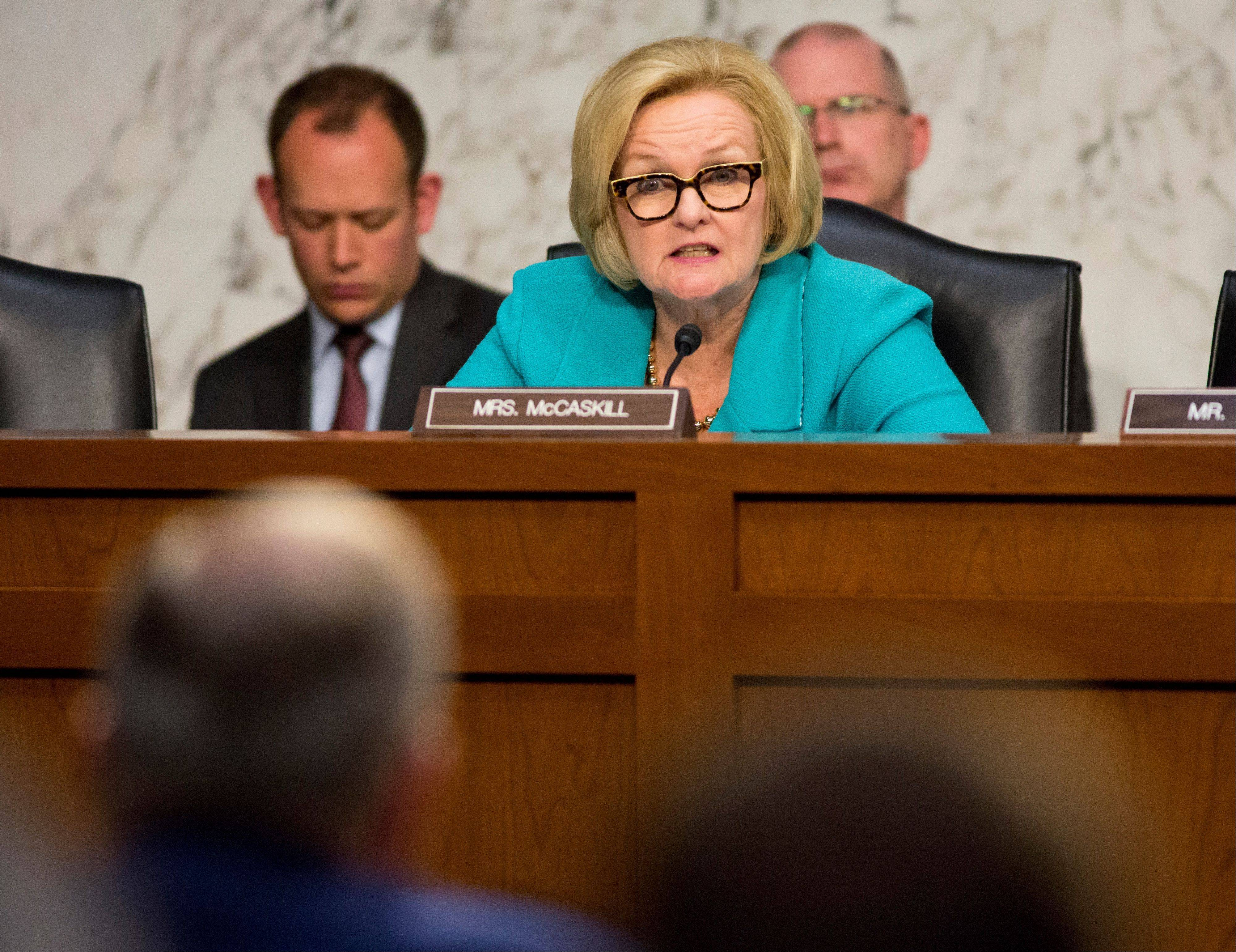 Sen. Claire McCaskill, D-Mo., questions top officials of the Air Force, Secretary of the Air Force Michael B. Donley, and Air Force Chief of Staff Gen. Mark A. Welsh III, about how they are dealing with the controversy over sexual assaults and how the military justice system handles it, during a Senate Armed Services Committee hearing on Capitol Hill in Washington, Tuesday, May 7, 2013.
