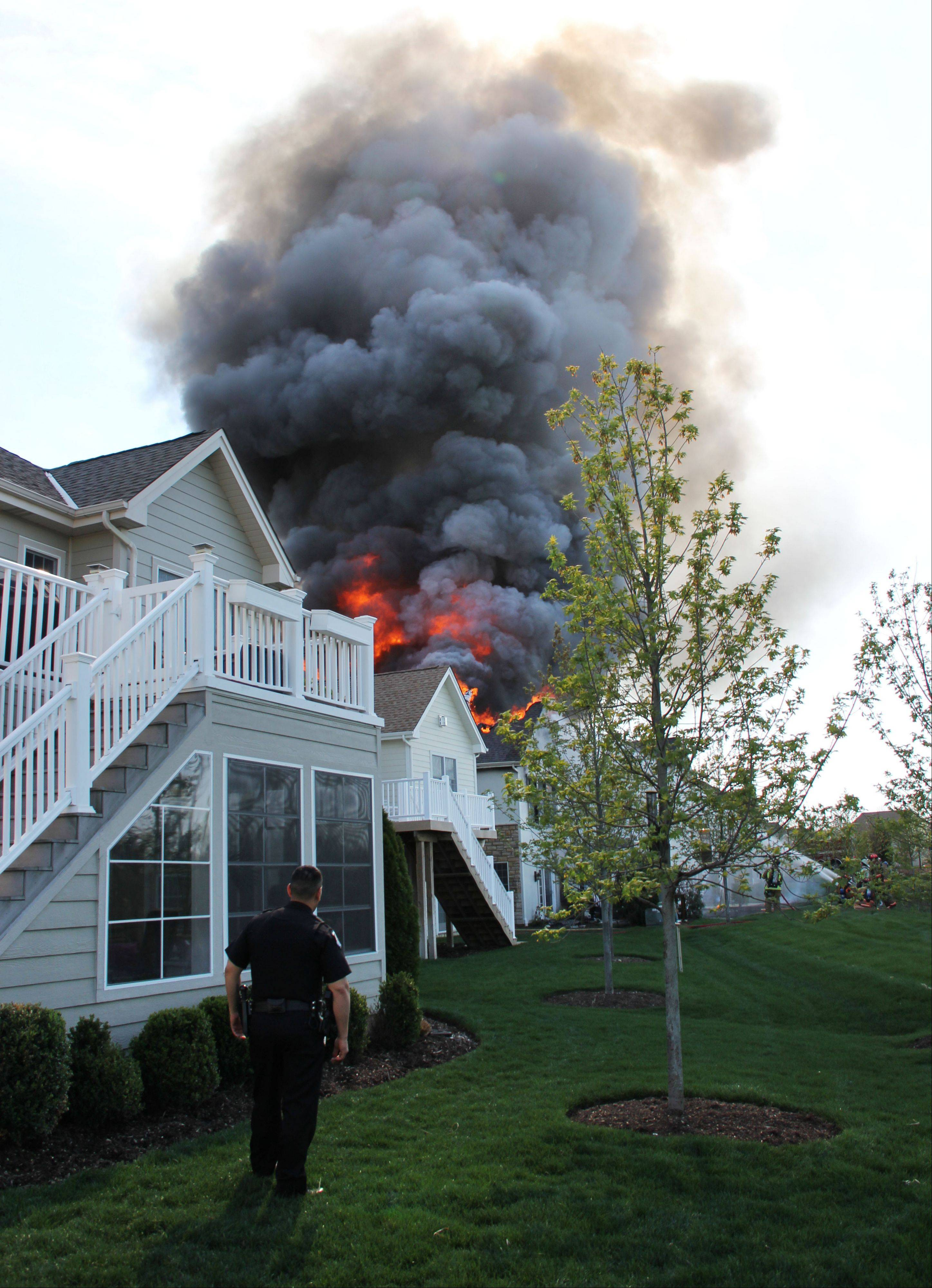 Fire and rescue personnel responded to a structure fire Tuesday afternoon on Aztec Court in South Barrington.