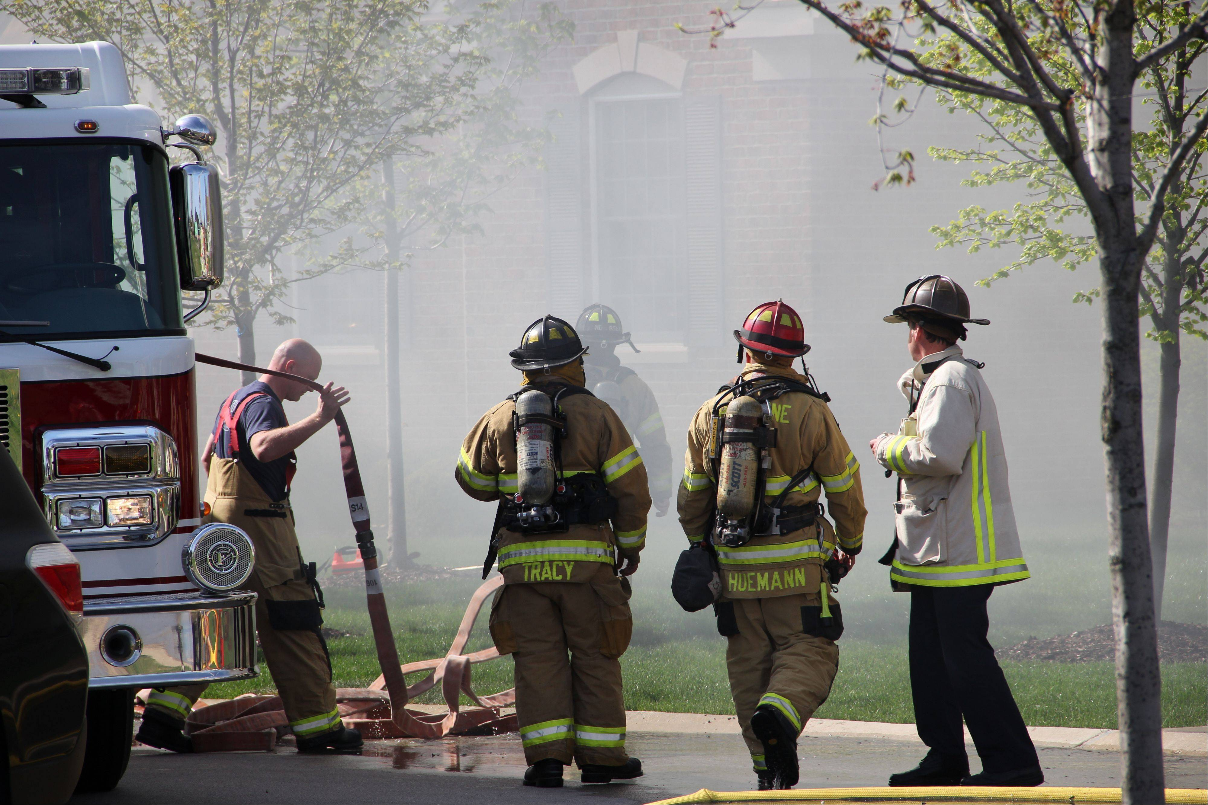 Fire and rescue personnel responded to a structure fire Tuesday afternoon on Aztec Courtin South Barrington.