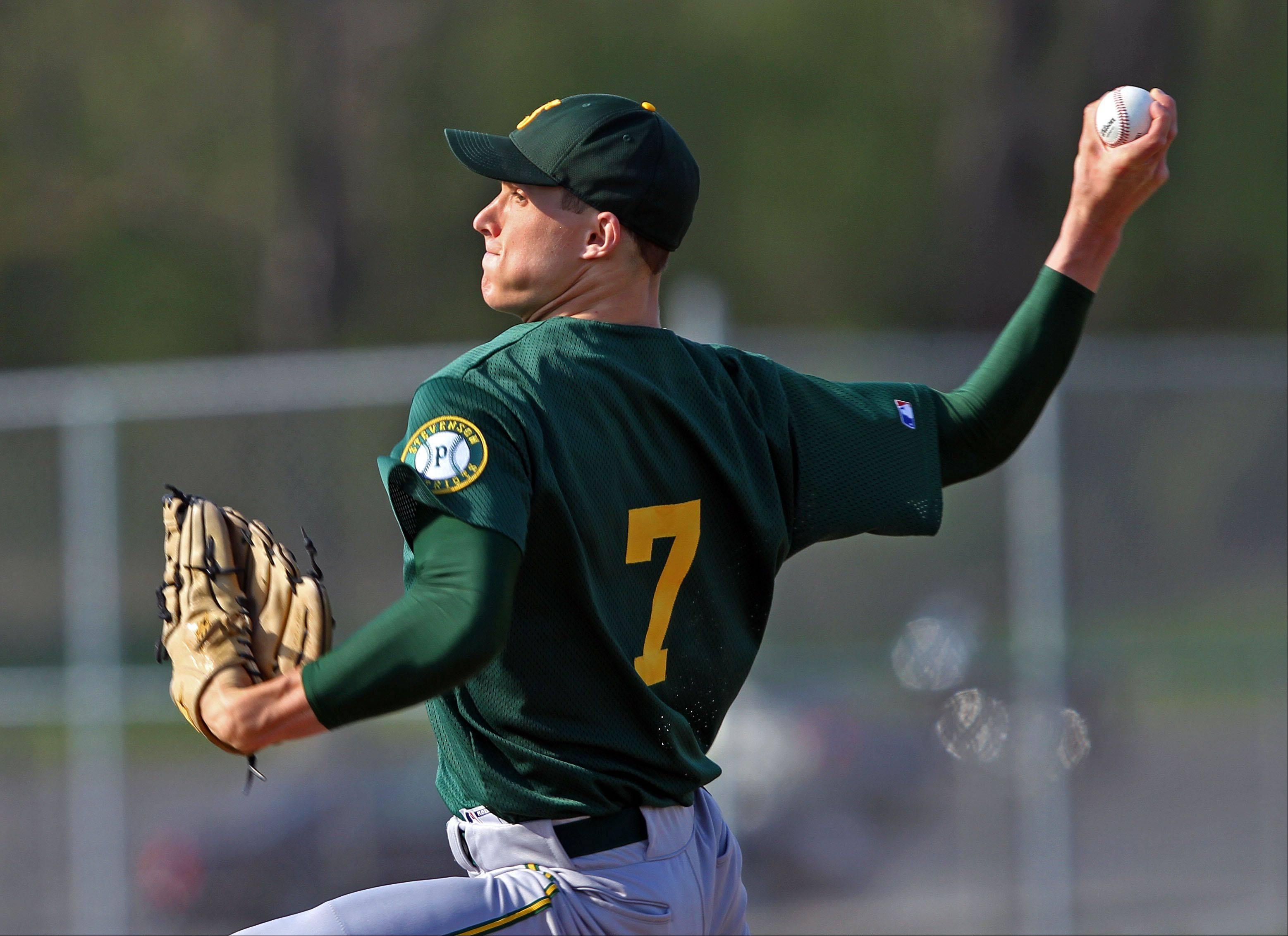 Stevenson's Jake Klancnik pitches Wednesday at Lake Zurich.