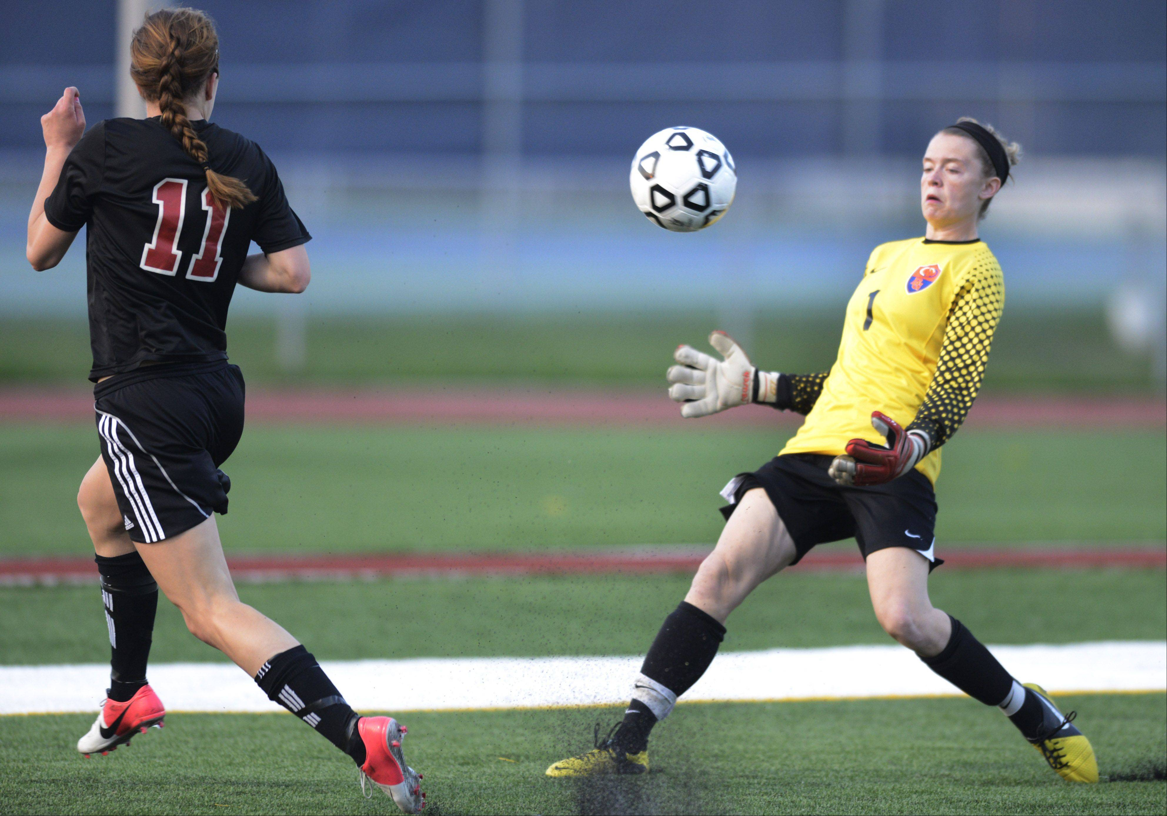 Buffalo Grove goal keeper Sarah O'Connor stops a shot attempt by Barrington's Jenna Szczesny during Wednesday's Mid-Suburban League championship game at Buffalo Grove.