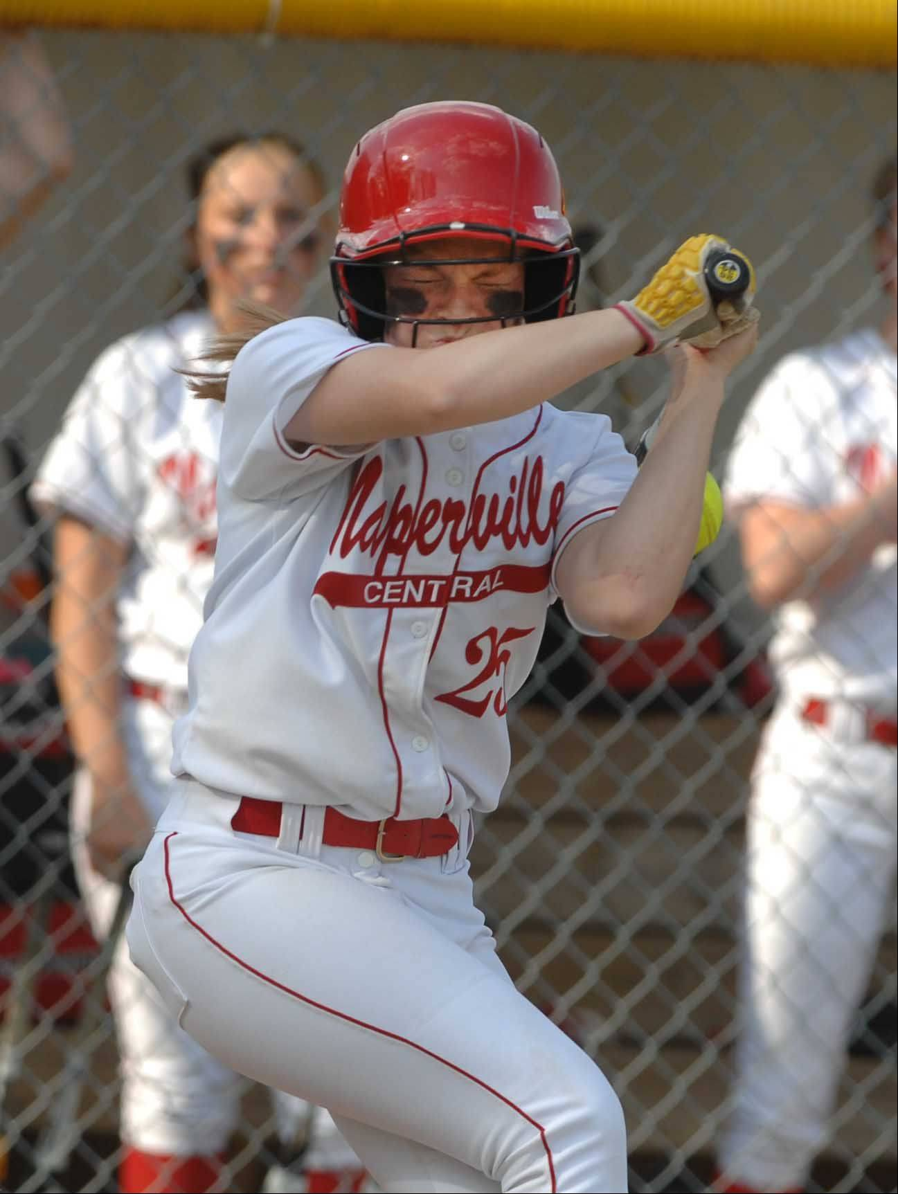 Naperville Central's Maddi Doane took part in Wednesday's game against Glenbard North in Naperville. She was hit by a wild pitch in the first.