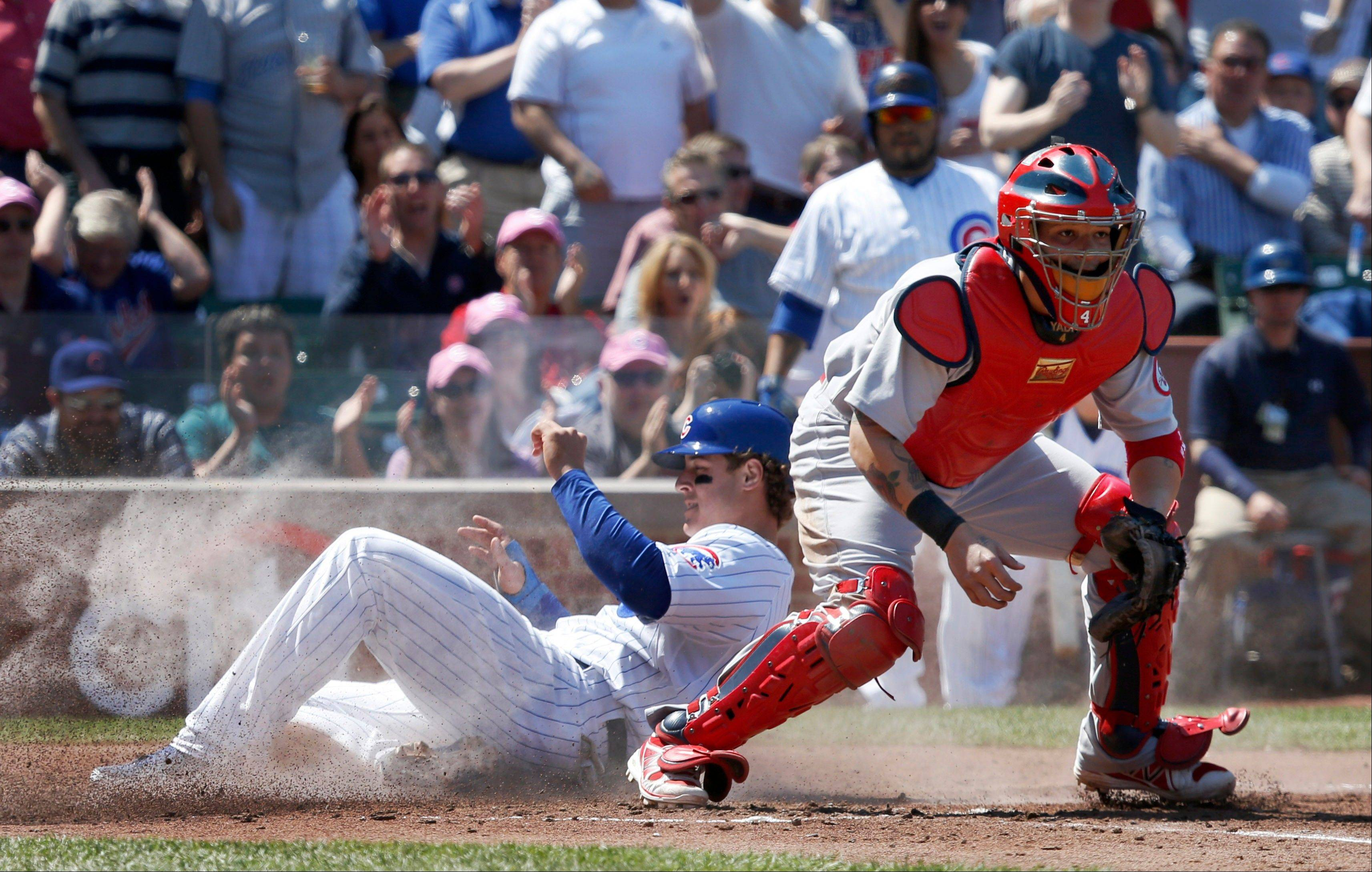 Anthony Rizzo, left, scores past St. Louis Cardinals catcher Yadier Molina on an RBI double by Nate Schierholtz in the fourth inning of a baseball game, Wednesday, May 8 2013, in Chicago.