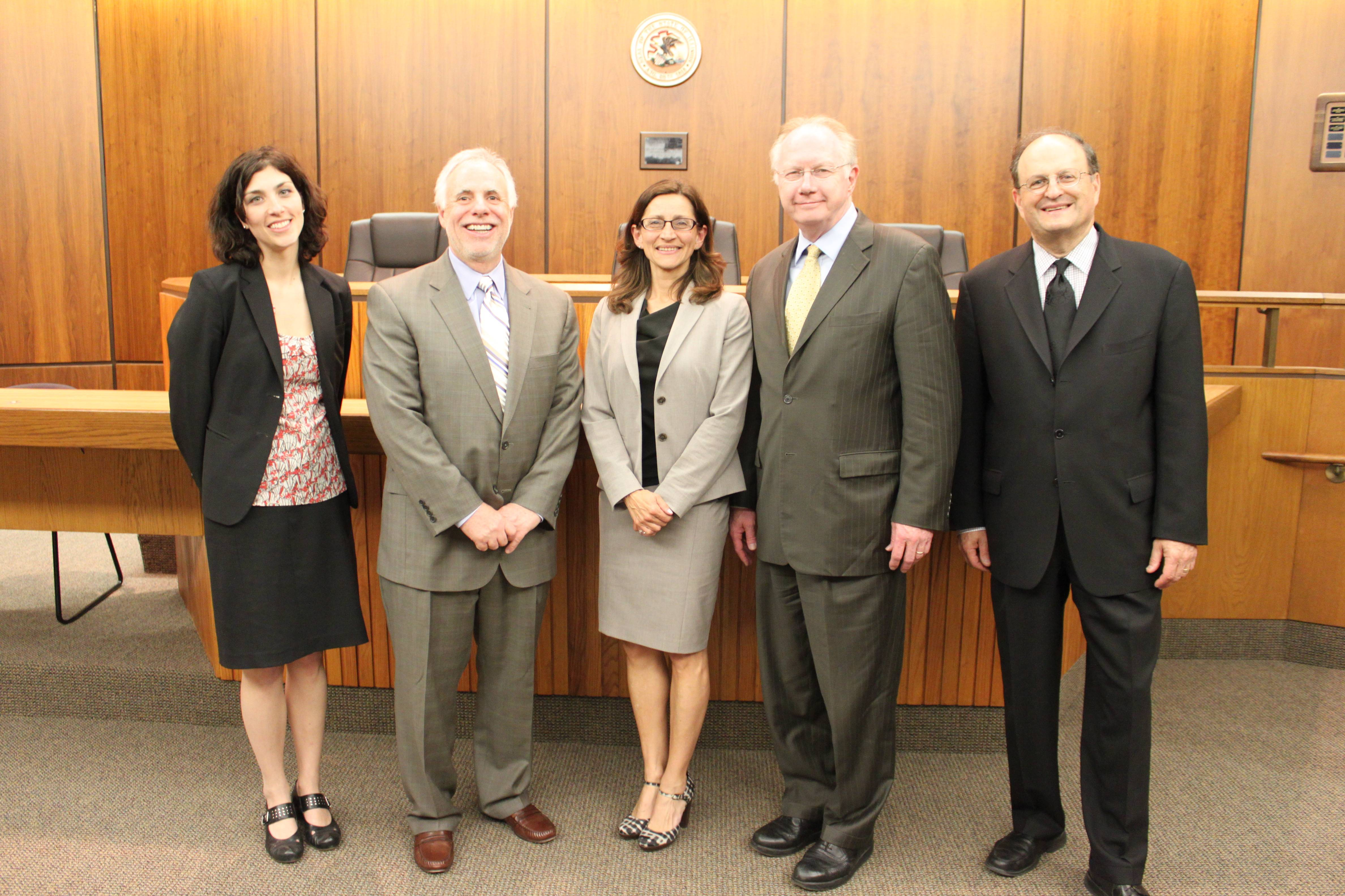 (from left to right):  Danielle Hirsch, executive director of the Illinois Supreme Court Commission on Access to Justice; Justice Robert R. Thomas, Illinois Supreme Court; NIU Law Dean Jennifer Rosato; Chief Justice Thomas L. Kilbride, Illinois Supreme Court; and Jeff Colman, chair of the Illinois Supreme Court Commission on Access to Justice led discussions at the Illinois Supreme Court Commission on Access to Justice Listening Conference held at the Northern Illinois University College of Law.