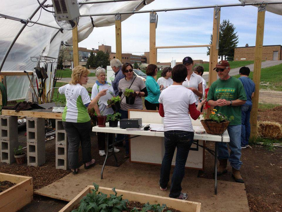 Sales were brisk at Smart Farm's vegetable seedling sale on May 4.