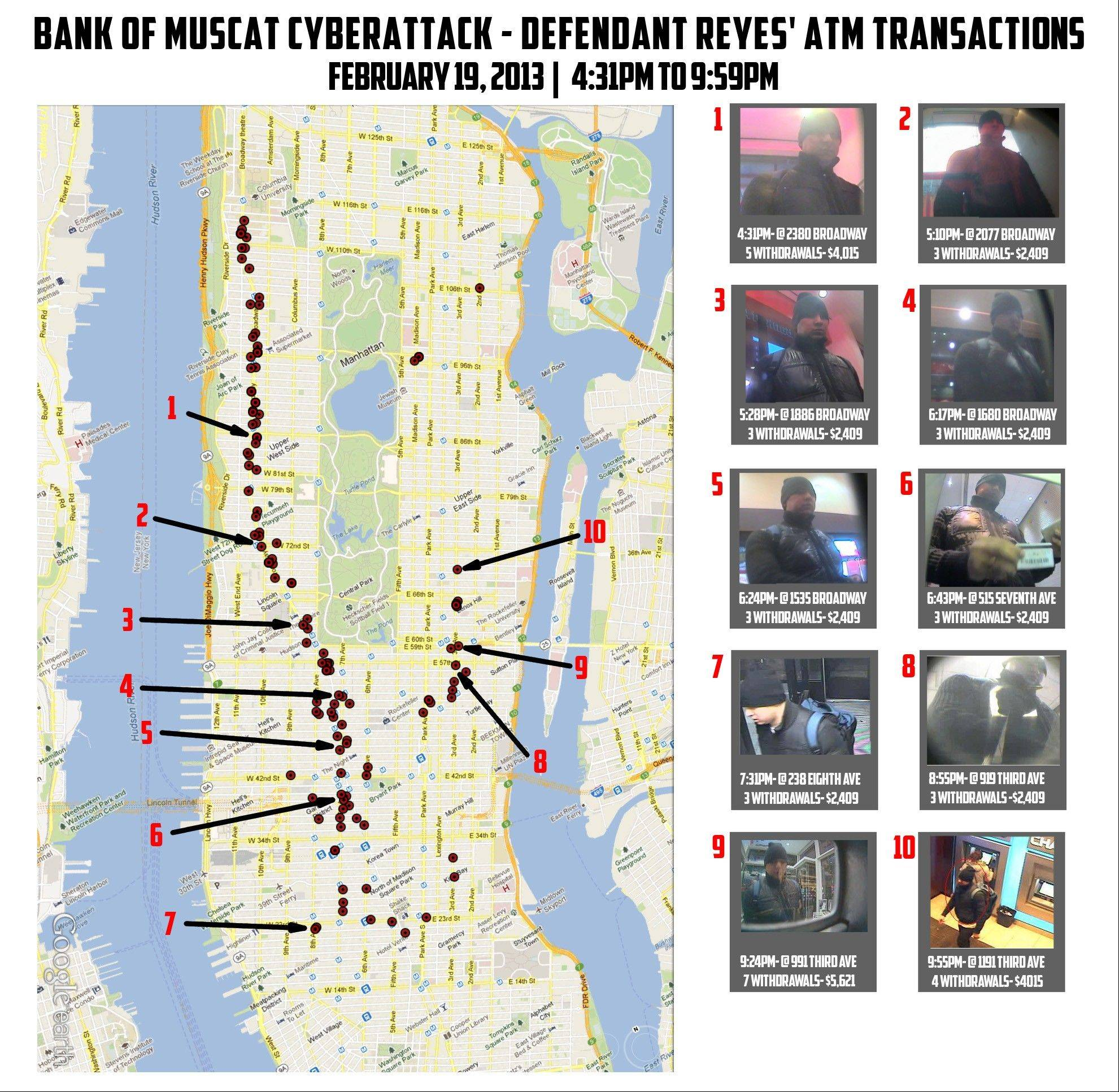 "This undated graphic released by the U.S. Attorney's office shows 10 photos of a man identified as ""defendant Reyes"" who allegedly used fraudulent magnetic cards to steal money from cash machines, next to a map of Manhattan indicating the locations of the looted machines."