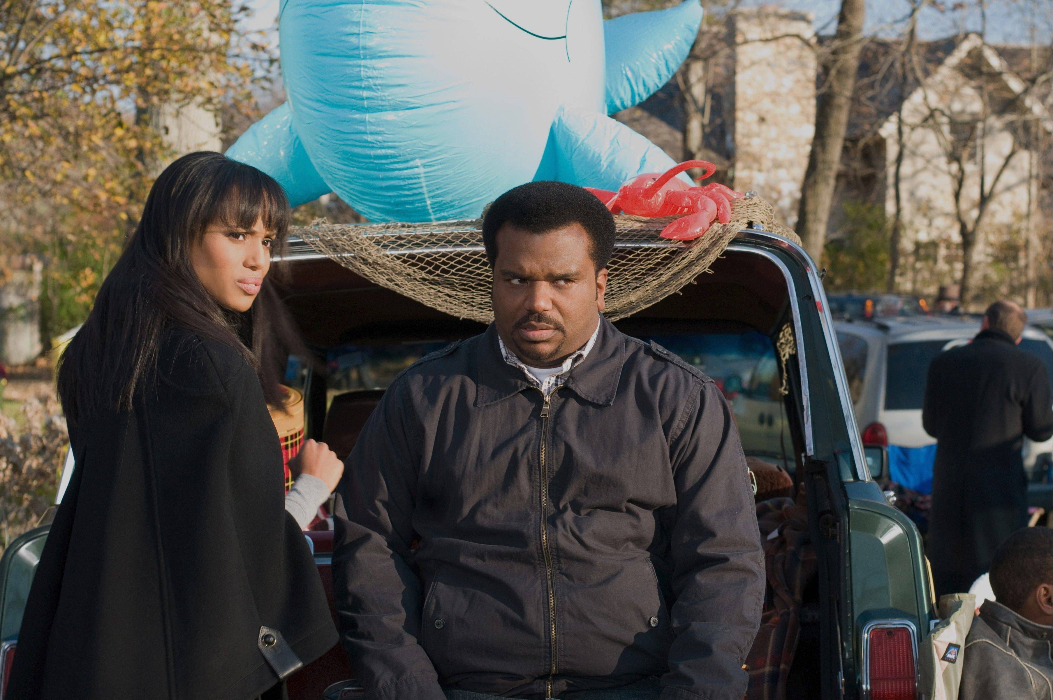 "Upper crust Grace Peeples (Kerry Washington) enjoys a strange romance with Everyman Wade Walker (Craig Robinson) in the rom-com ""Peeples."""