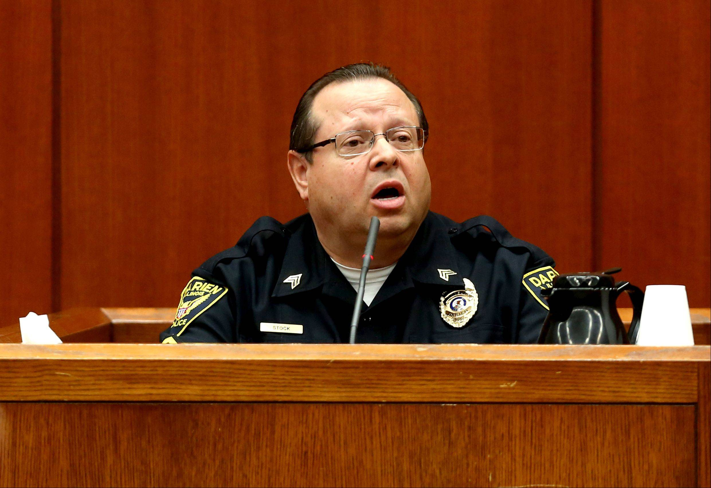 Darien police Sgt. David Stock testifies Thursday at the Johnny Borizov triple-murder trial at the DuPage County courthouse in Wheaton.