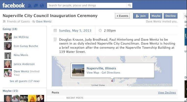 Dave Wentz used Facebook to invite 462 people to the city's Sunday inauguration ceremony and the reception he hosted.