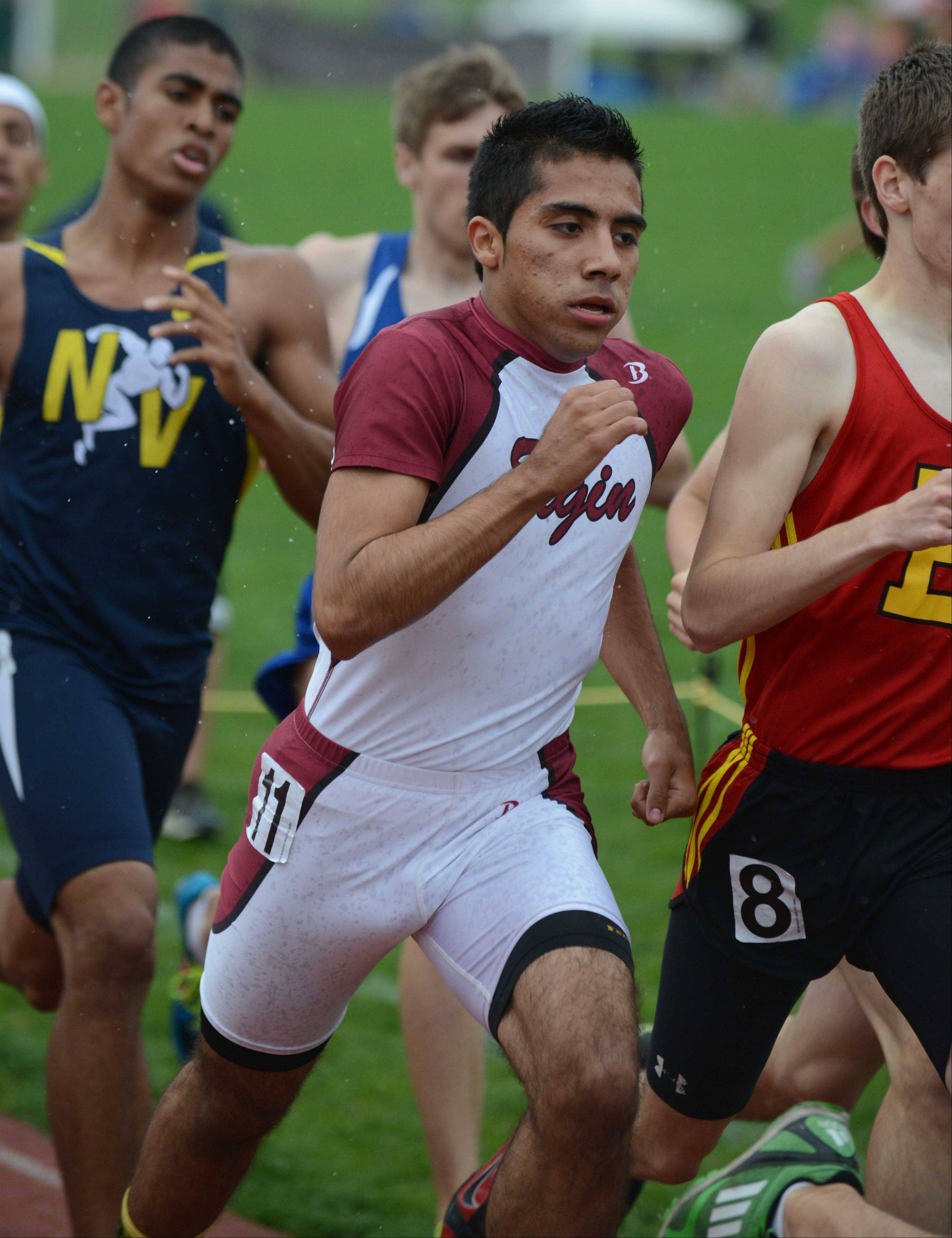 Chris Porras ran the 800 meter run during the Upstate Eight Conference boys track finals Thursday. The event was held at Lake Park East Campus.