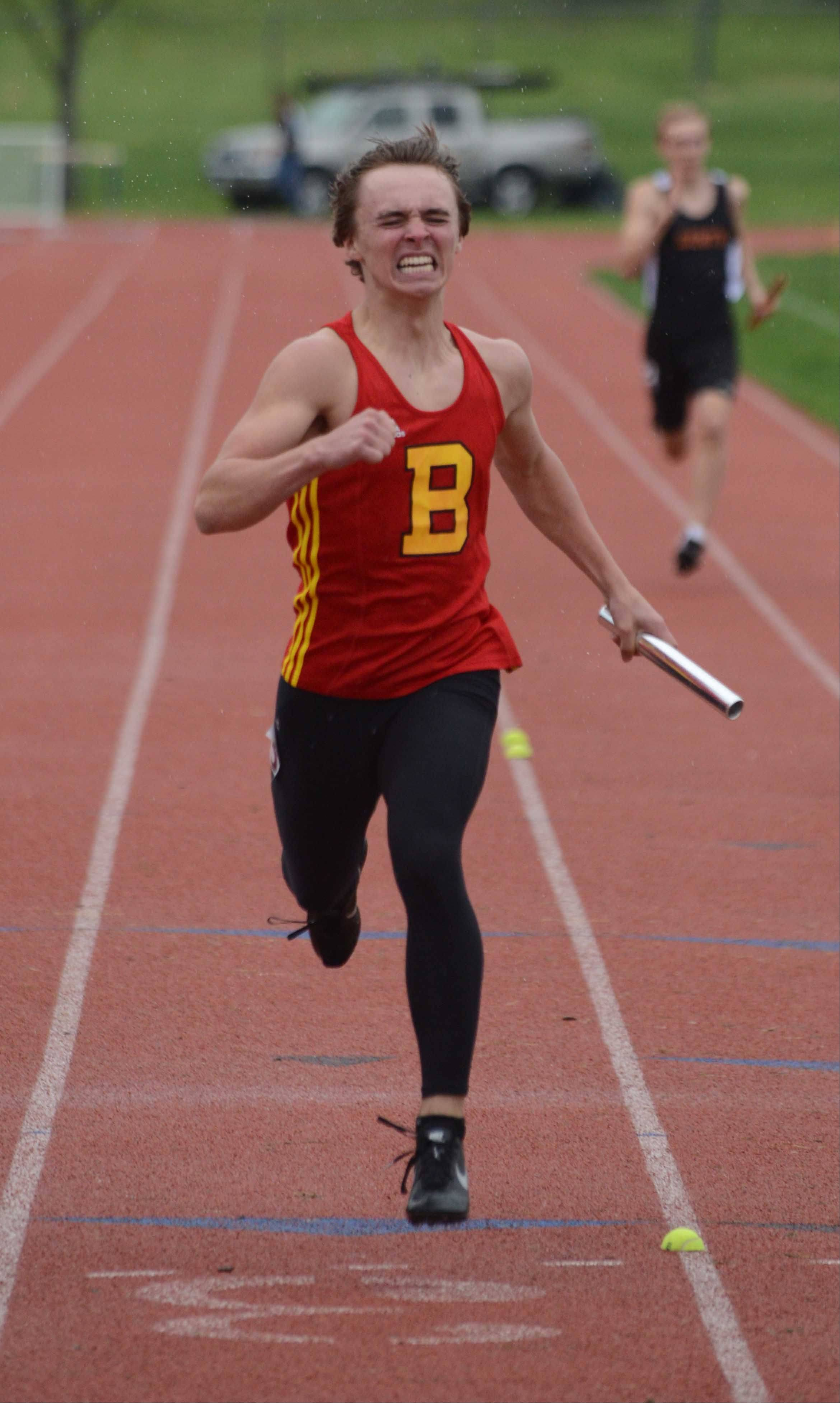 Triston Dever of Batavia runs the 4x200 meter relay during the Upstate Eight Conference boys track finals Thursday. The event was held at Lake Park East Campus.