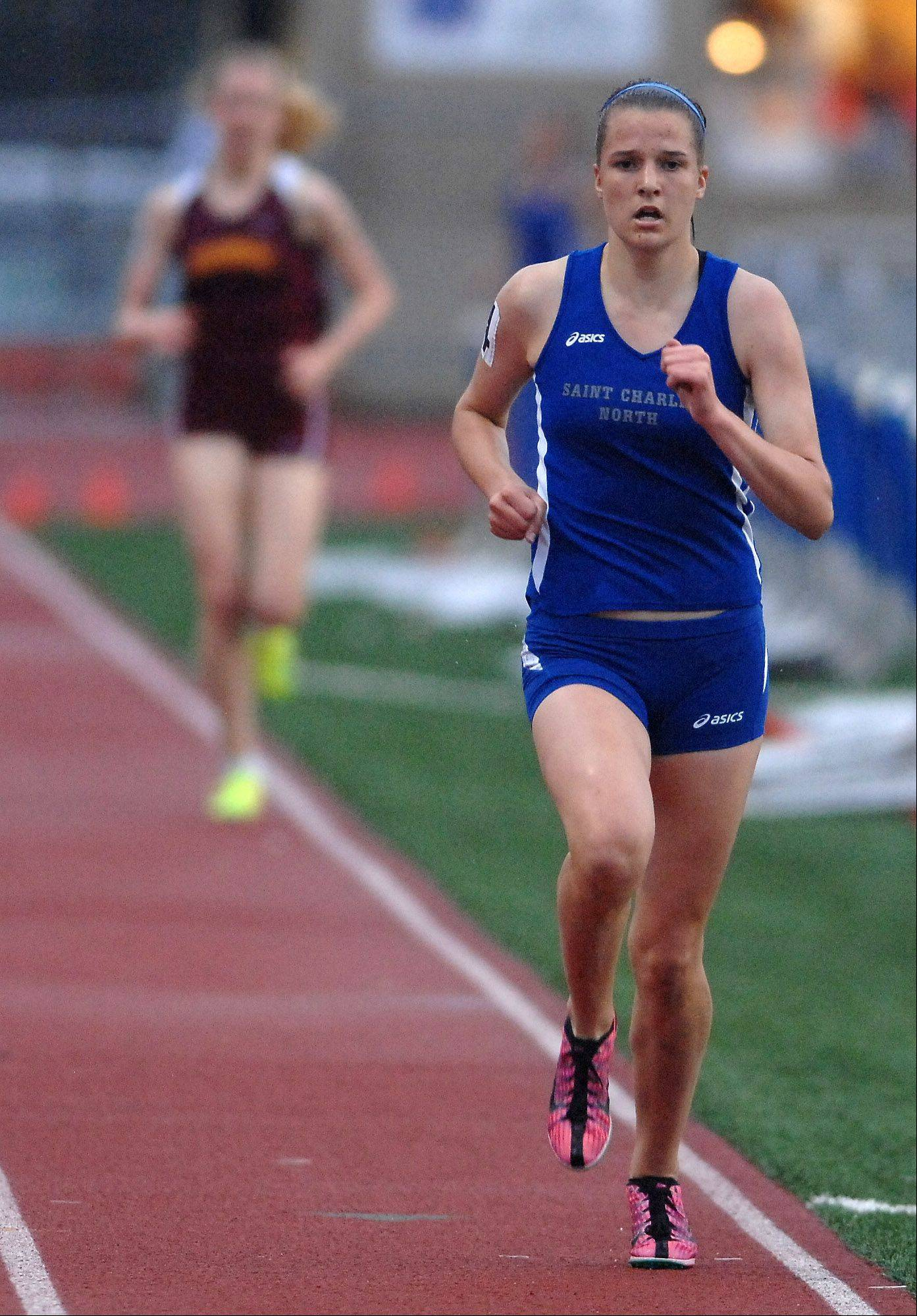 Ashley England of St. Charles North finished second in the 3,200.