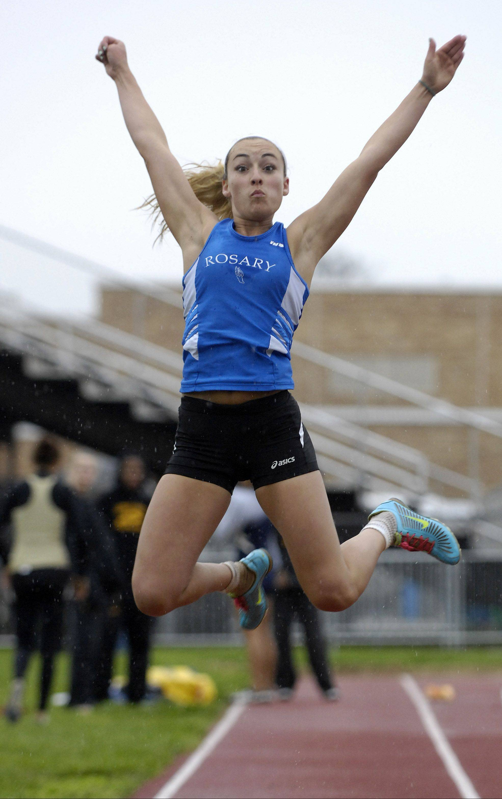 Rosary's Nicole Basile competes in the long jump.