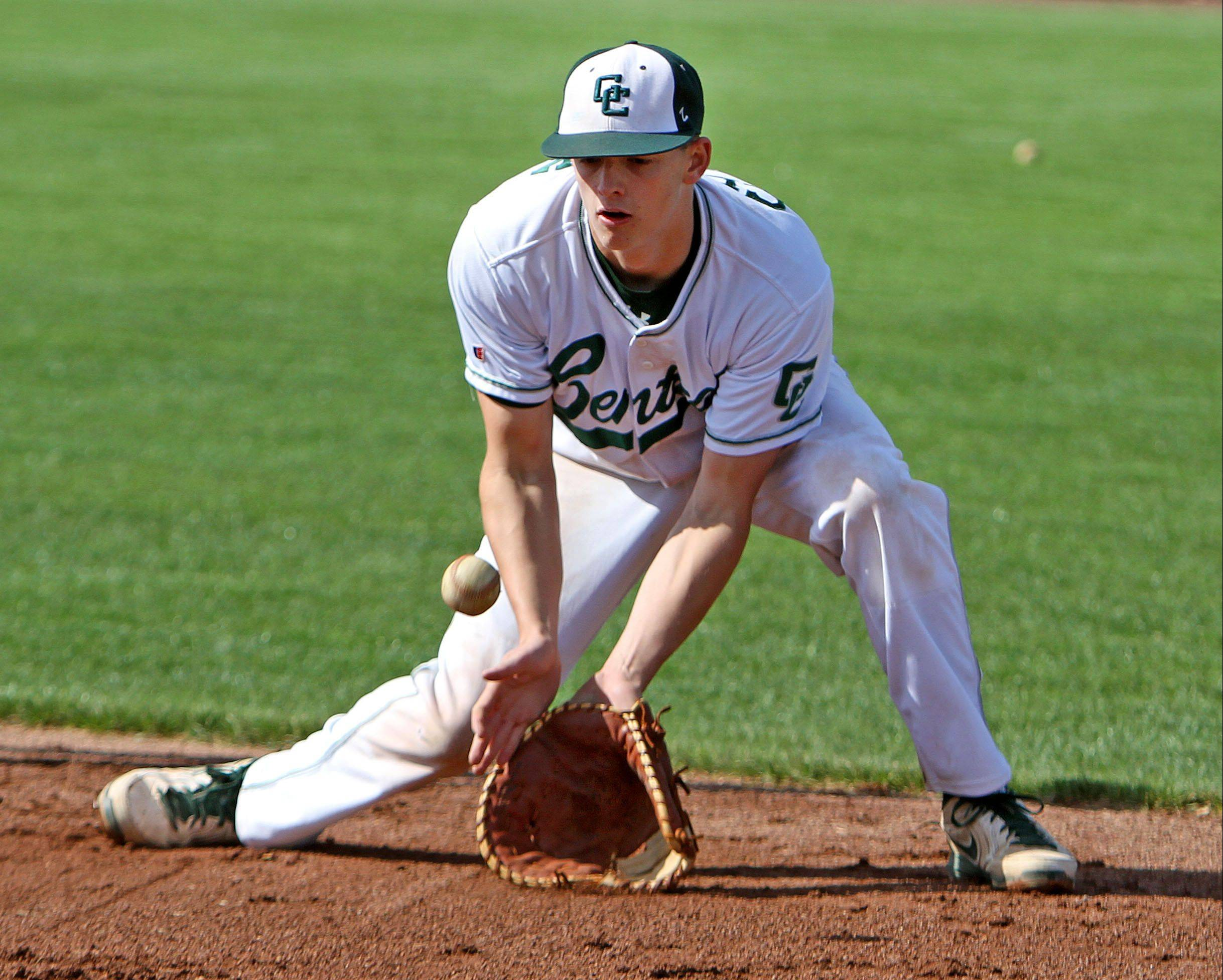 Grayslake Central first baseman Kyle Clark credits yoga with his improved play this year.