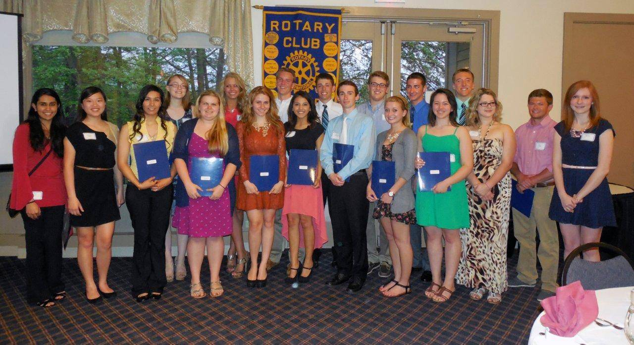 The Dundee Township Rotary Club awarded nineteen students from area high schools a total of $30,000 in scholarships. Shown left to right front: Zoya Din, Tiffany Fang, Sanjuana Solis, Kelsey Zeller, Tessa Dettman, Jacqueline Duarte, Kevin Dispensa, Megan Simpson, Jennifer Rodriguez, Evelyn Gonzalez, Beck Blair, Sarah Bowen; and left to right back:Eleanor Oskorep, Tess Waldron, Jeremy Wodka, Kyle Dispensa, Austin Fry, Ian Pattison, and Brenton Bartelt