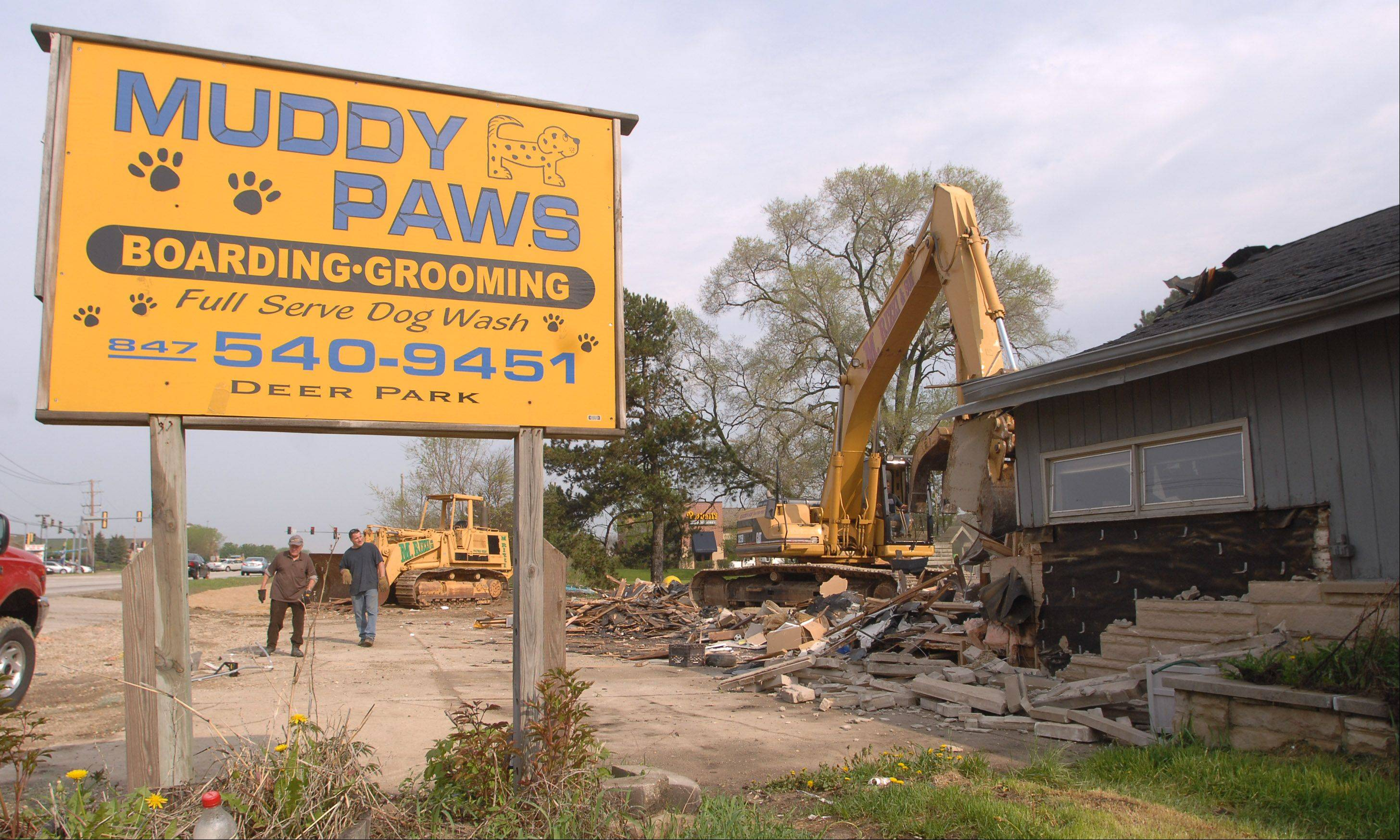 Crews demolished the former Muddy Paws shelter on Rand Road in Deer Park in summer 2011. Chick-fil-A plans to open on the property just south of Shops at Kildeer mall.