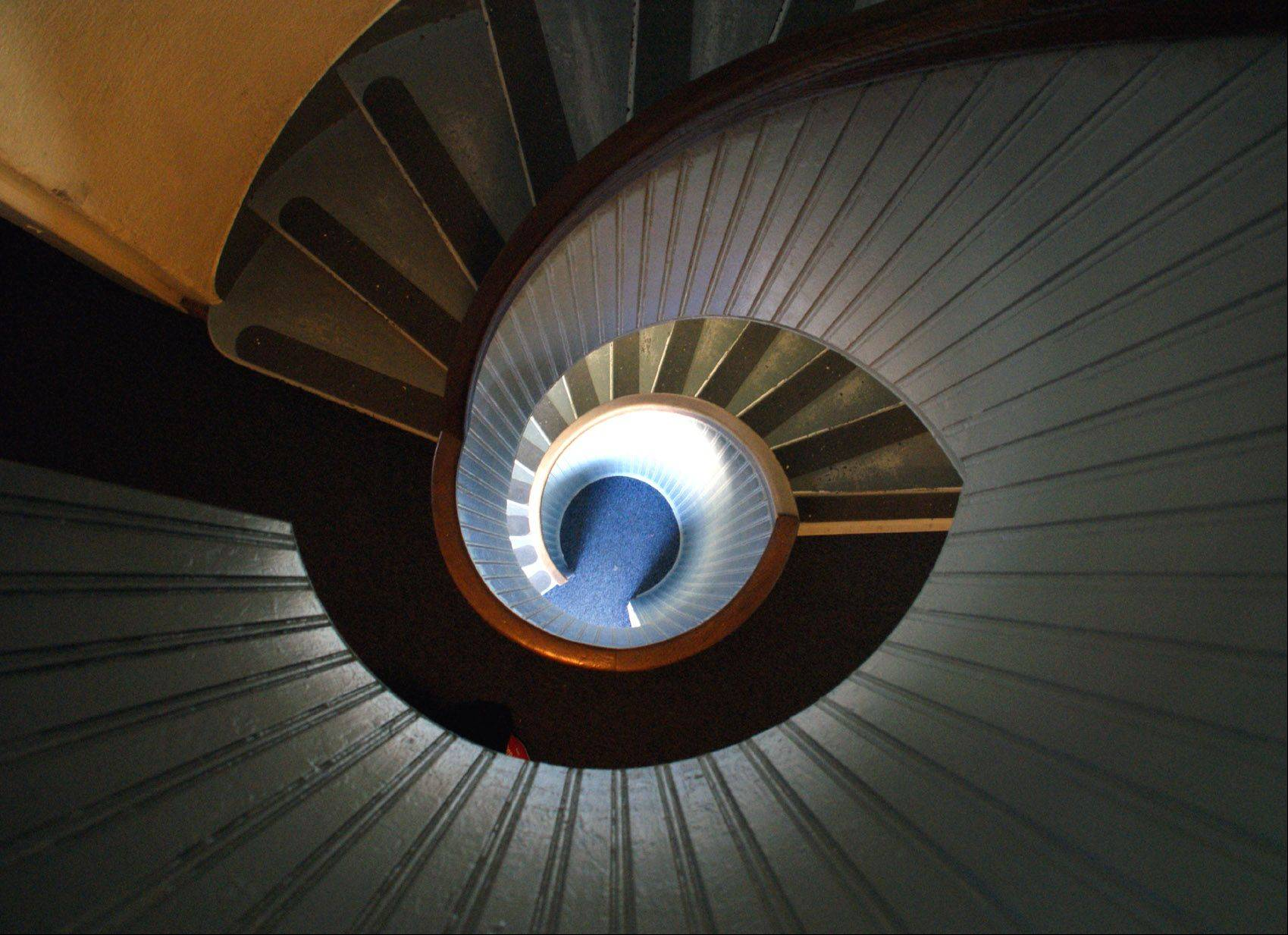 The lighthouse at Point Loma in San Diego was very scenic, but looking down its spiral staircase from upstairs inside gave a more interesting and disorienting impression.