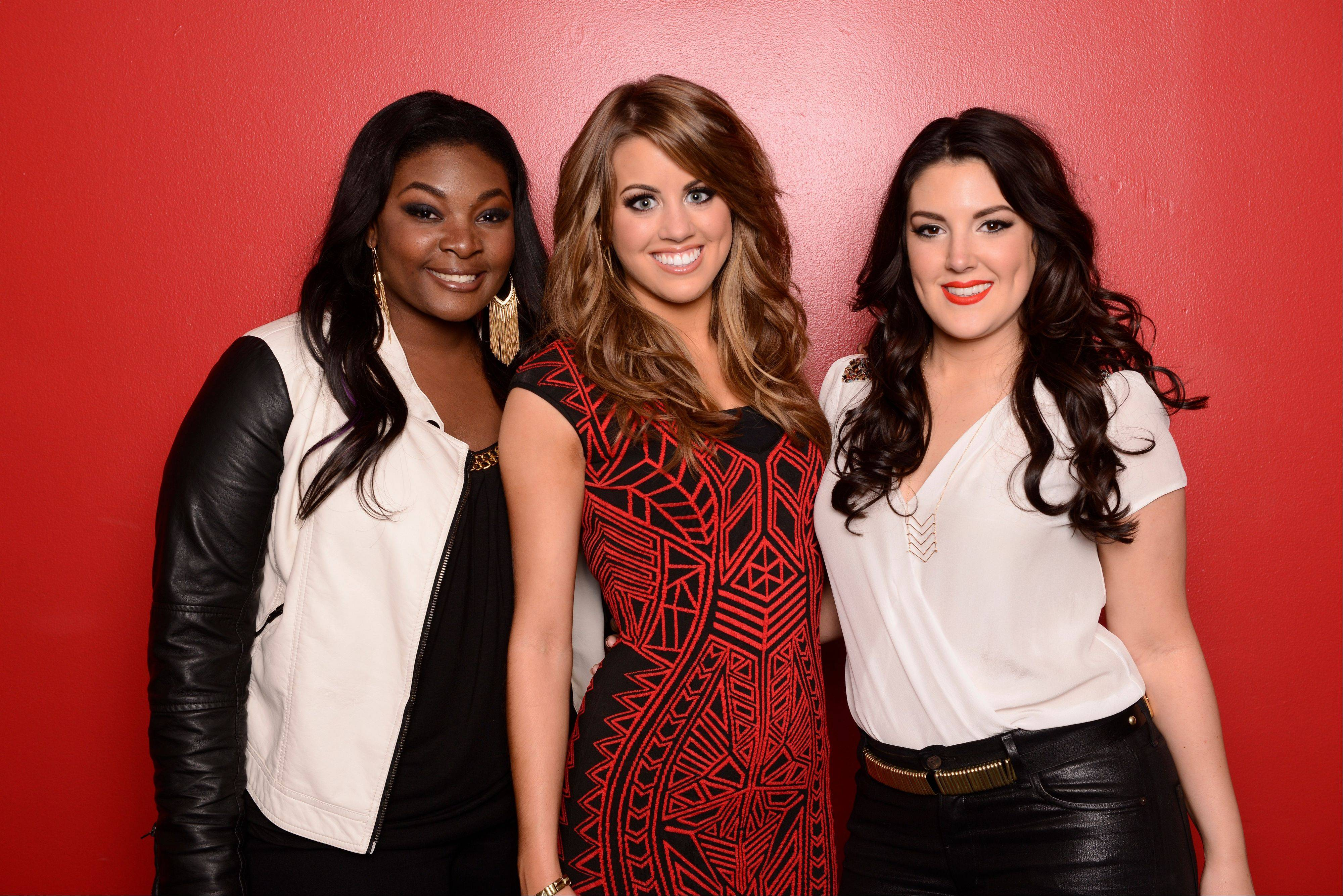"Angie Miller, center, received the fewest viewer votes on ""American Idol"" Wednesday, leaving Candice Glover, left, and Kree Harrison to duke it out for the grand prize on next week's finale."