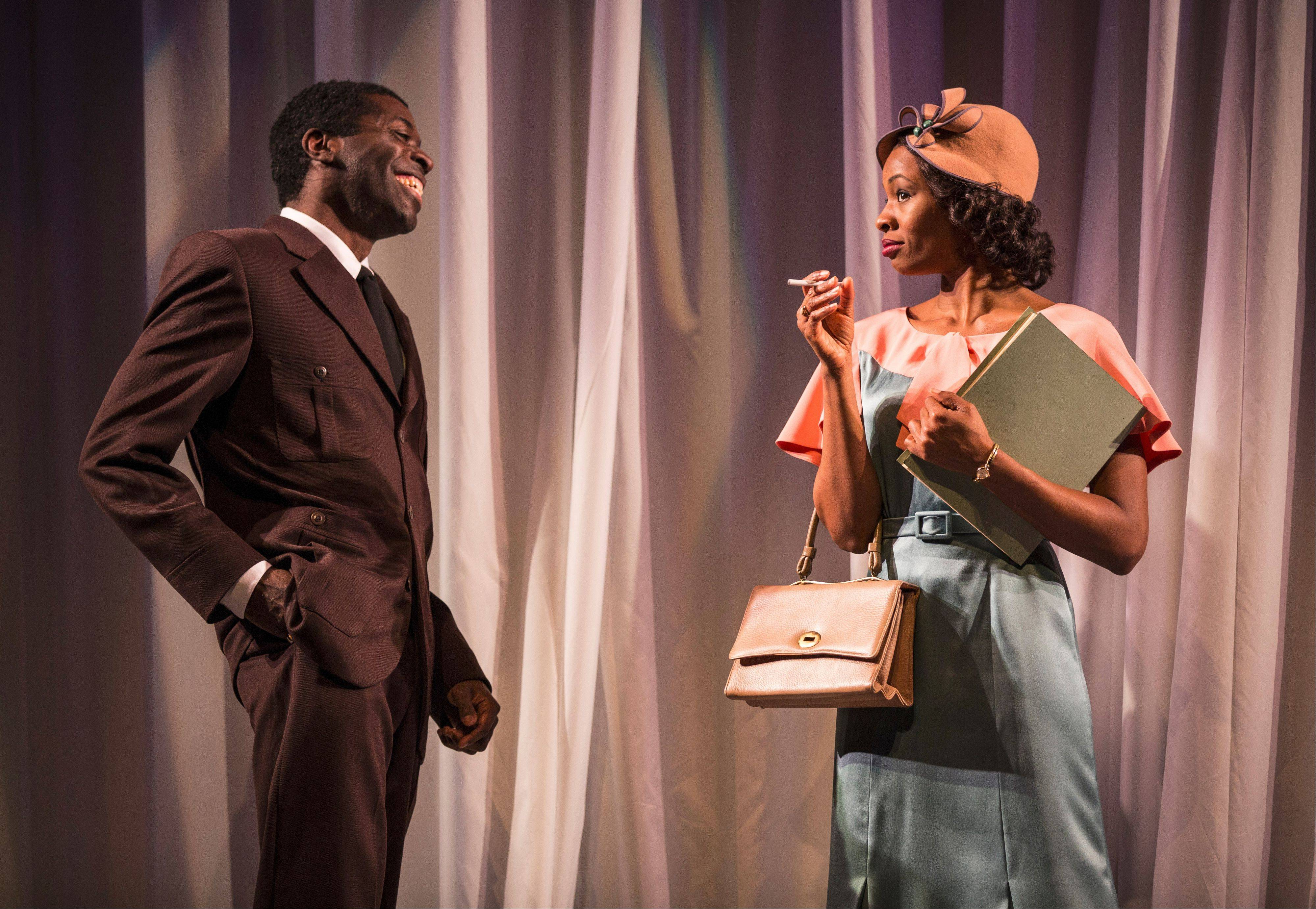 "Aspiring composer Leroy Barksdale (Chiké Johnson) chats up aspiring actress Vera Stark (Tamberla Perry) in Lynn Nottage's 1930s Hollywood satire, ""By the Way, Meet Vera Stark"" at Goodman Theatre."
