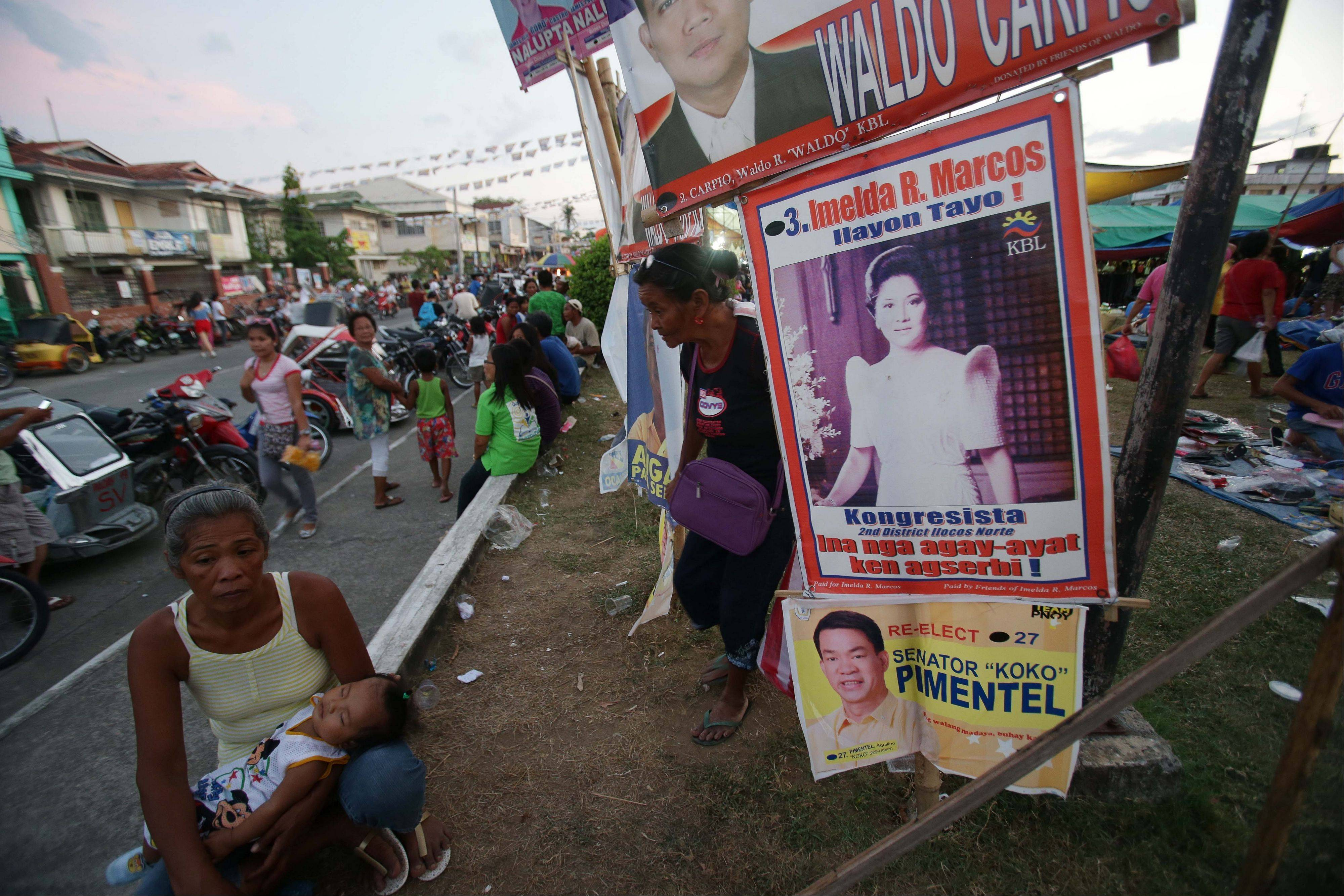 A poster of former Philippine First Lady Imelda Marcos is on display last Sunday at town center in Ilocos Norte province, northern Philippines.