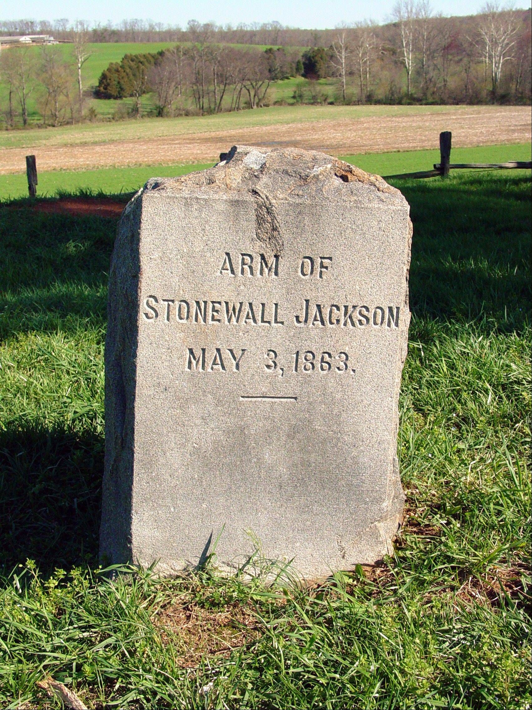 "A tombstone for a the amputated arm of Confederate Gen. Thomas J. ""Stonewall"" Jackson near Orange County, Va."