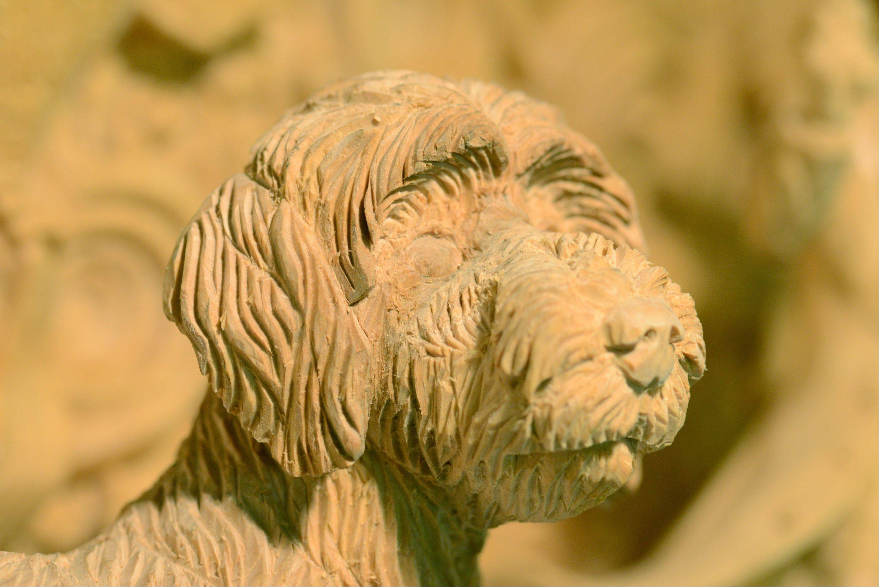 Weiser enjoys the realism of animal figures like this one which he painstakingly carved.