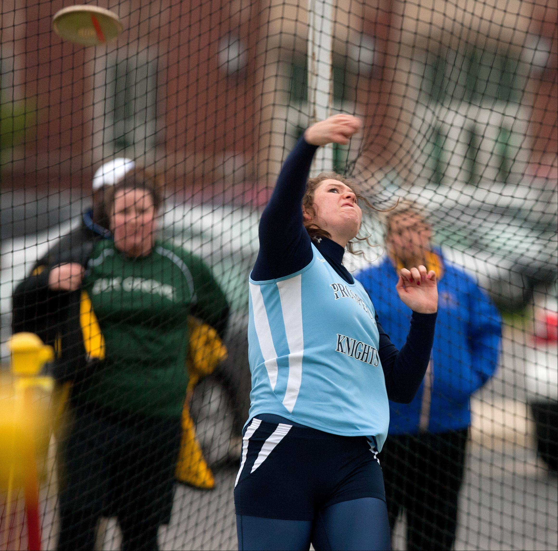 Prospect's Alicia Nicolau throws the discus during the York sectional Friday.