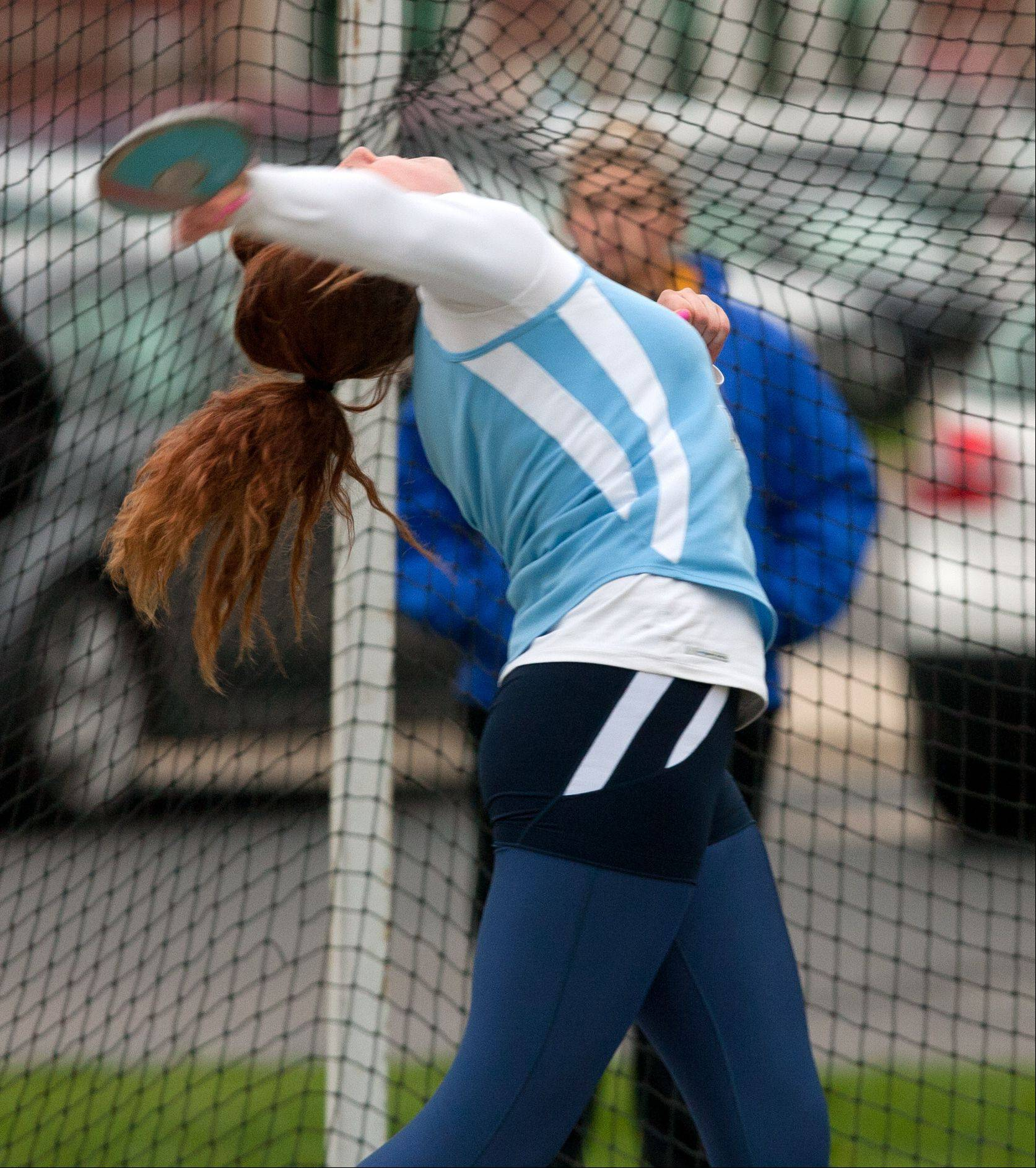Prospect's Erin Reese produces a second-place finish in the discus on Friday at York.