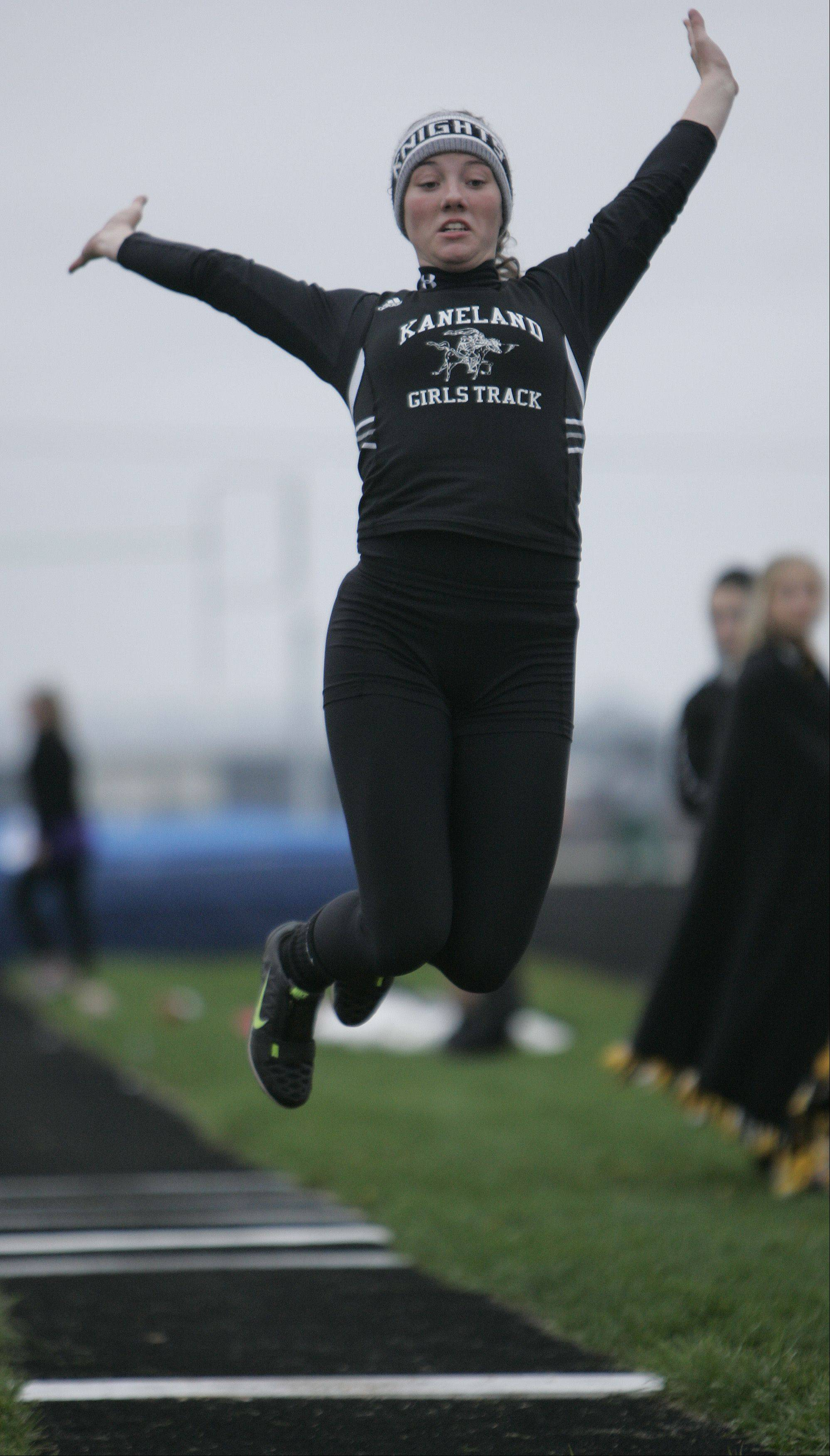 Kaneland's Lauren Zick competes in the long jump during the Burlington Central girls track sectional Friday.