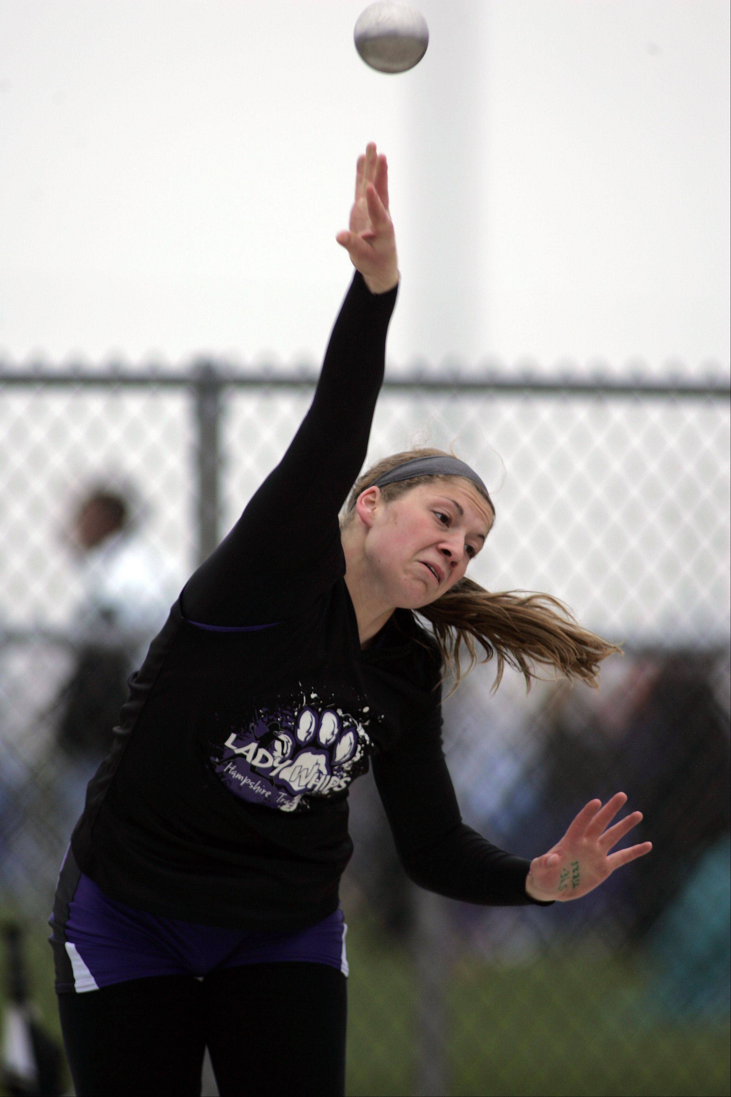 Hampshire's Jennifer Dumoulin competes in the shot put during the Burlington Central girls track sectional Friday.