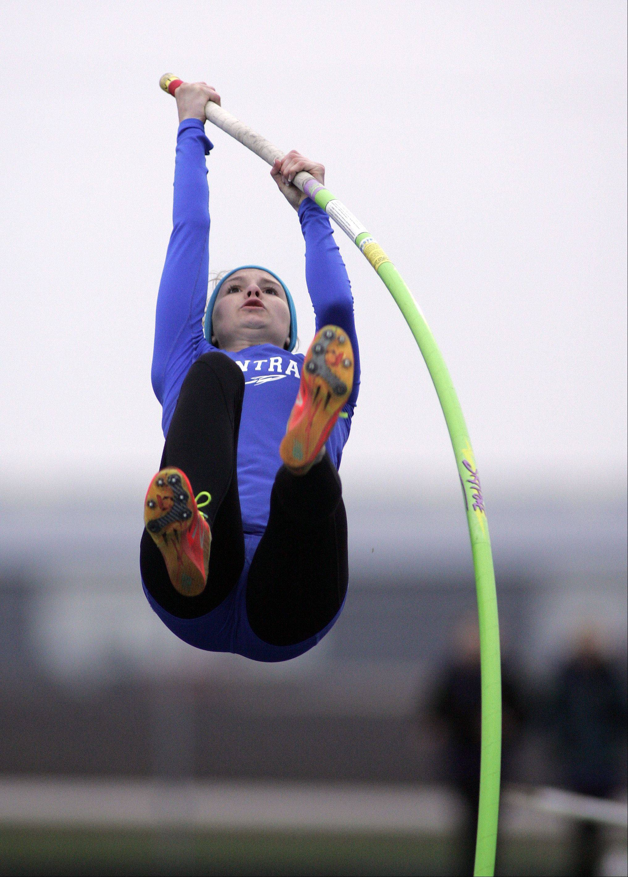Burlington Central's Katie Trupp competes in and wins the pole vault during the Burlington Central girls track sectional Friday.