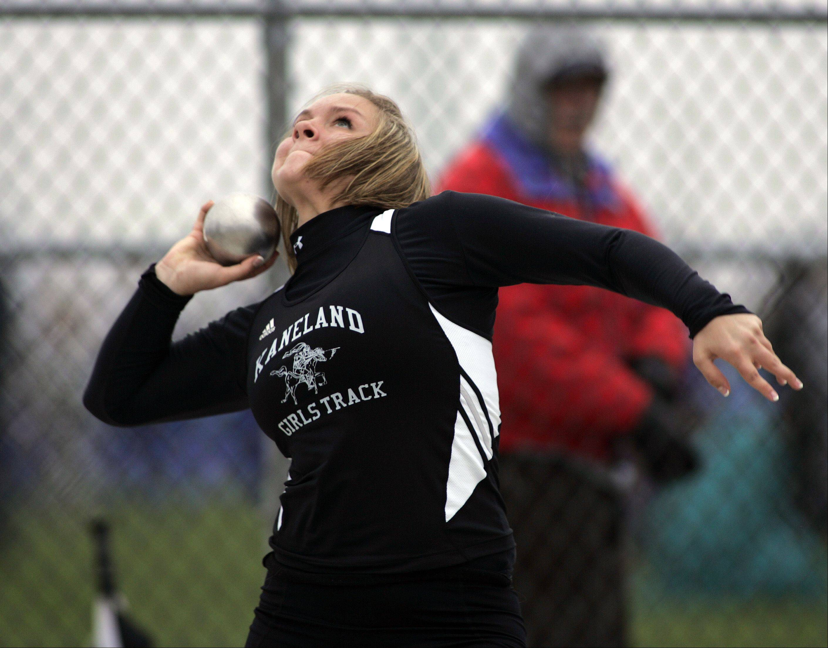 Kanelan's Elle Tattoni competes in the shot put during the Burlington Central girls track sectional Friday.