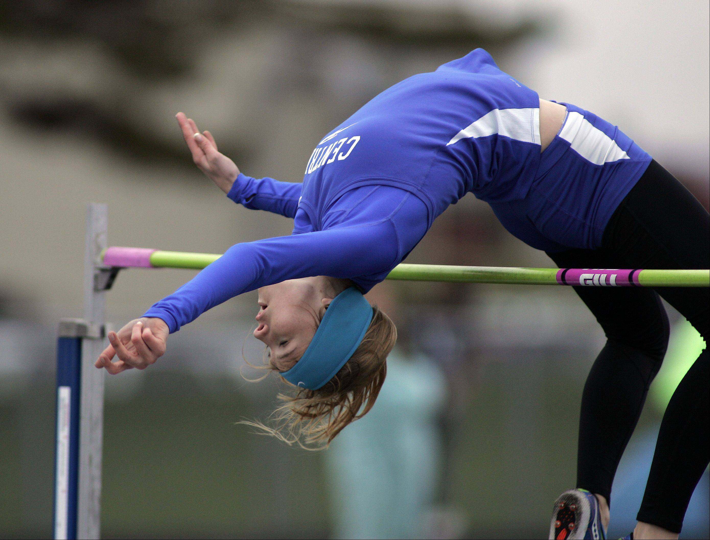 Burlington Central's Katie Trupp competes in and wins the high jump during the Burlington Central girls track sectional Friday.