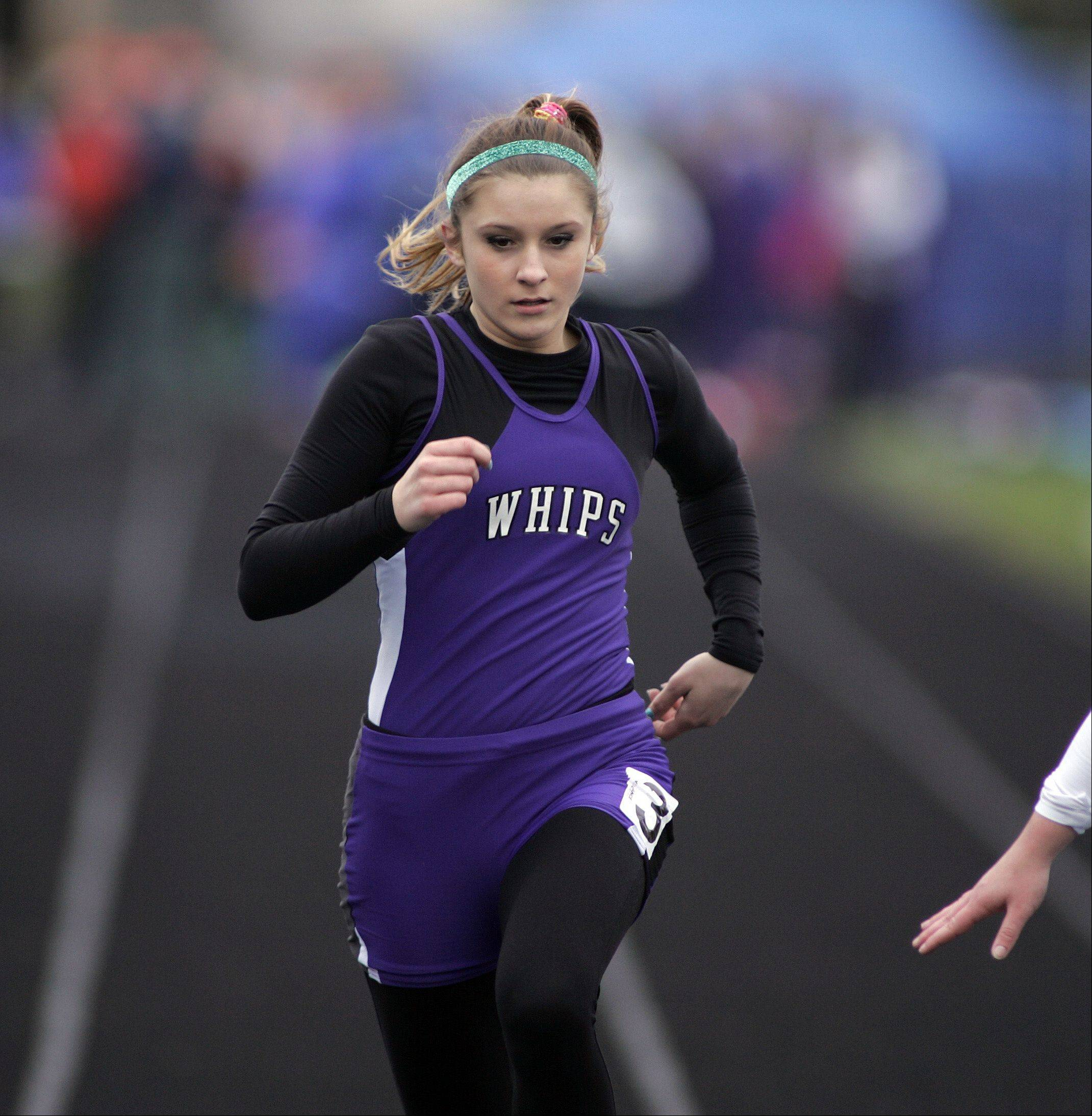 Hampshire's Anita Trzebunie competes in the 100 meter dash during the Burlington Central girls track sectional Friday.