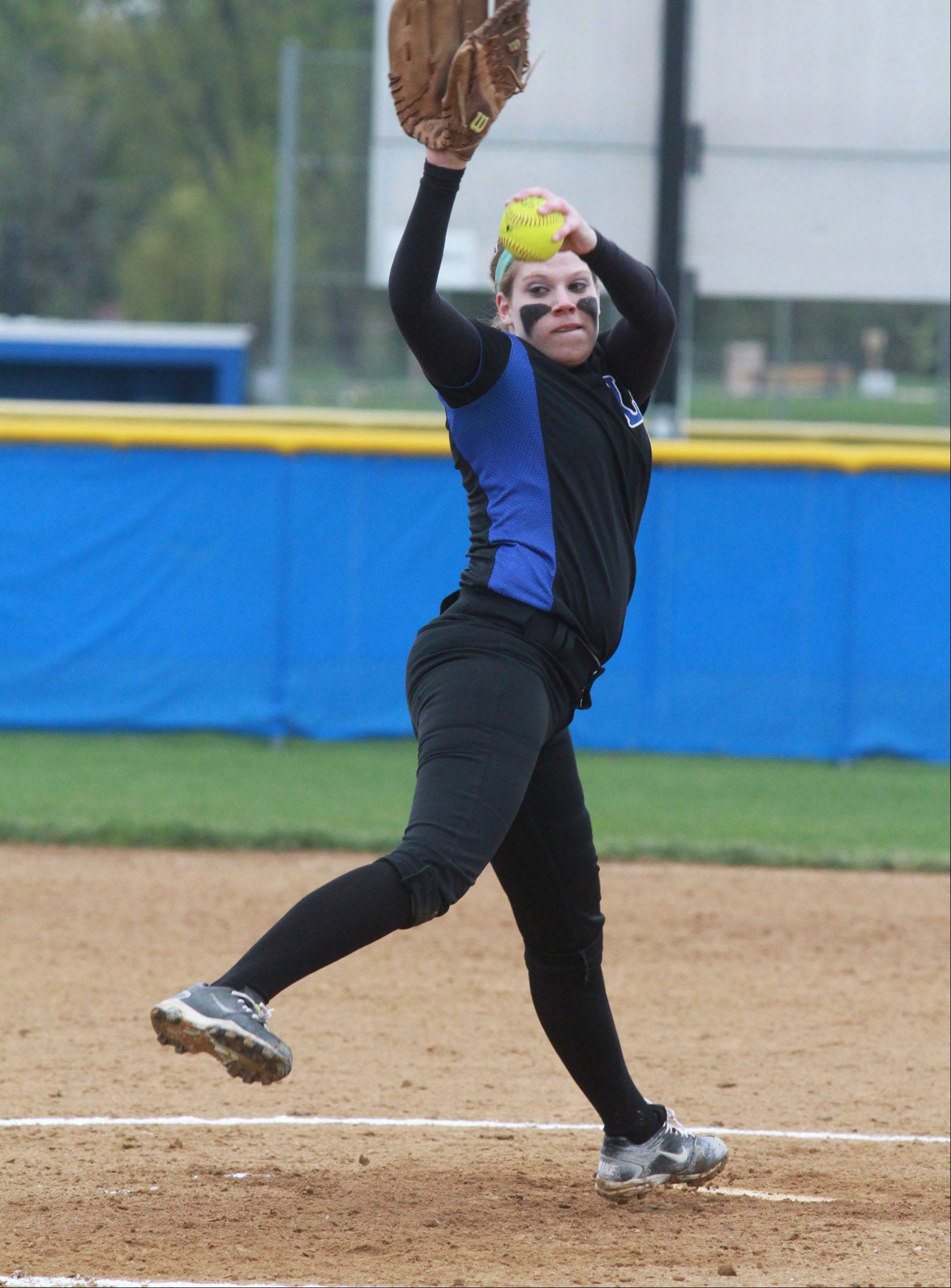 Lake Zurich's Olivia Schneider pitches against Warren in Gurnee on Friday.
