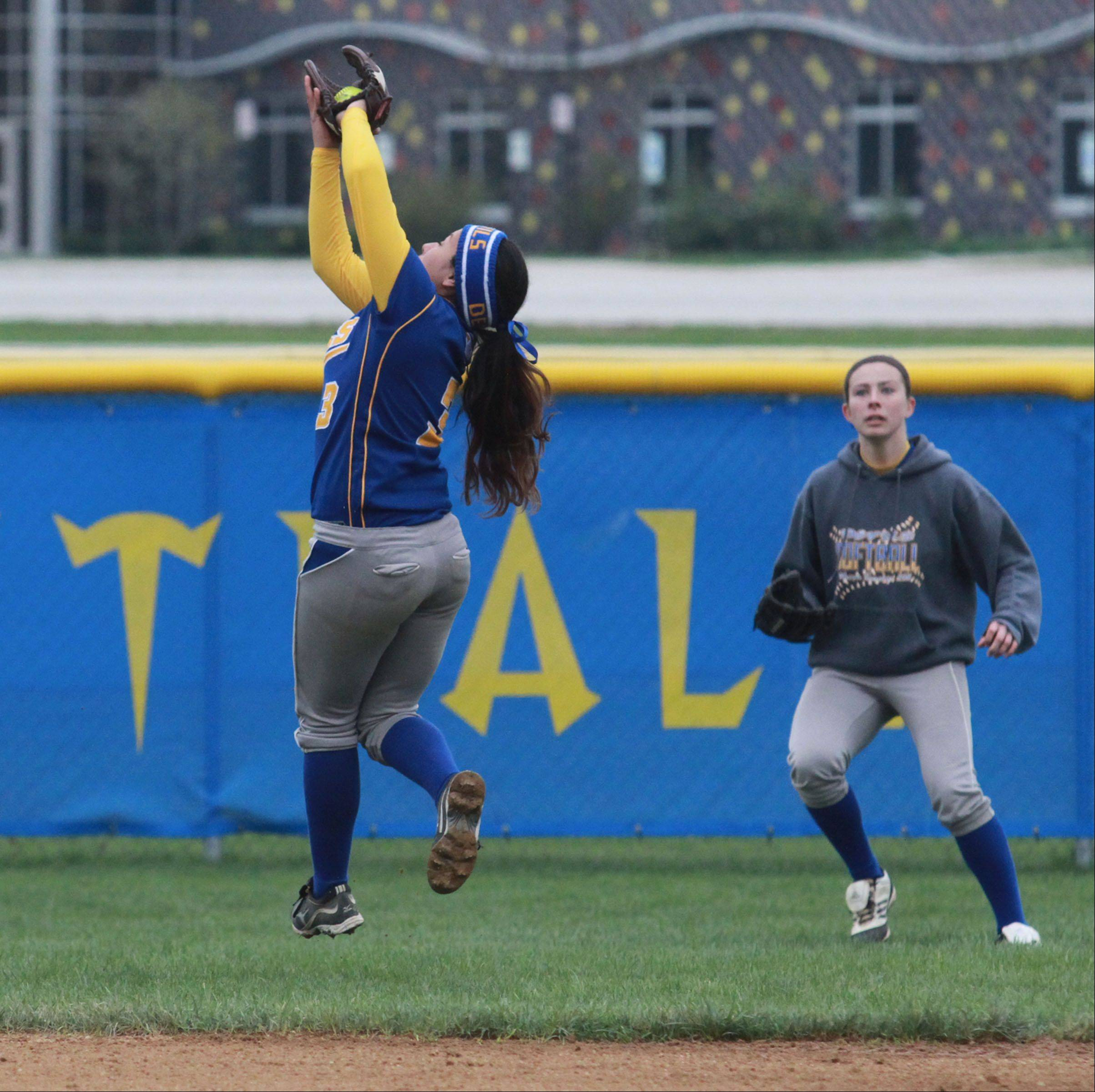 Warren's Selaina Coronado makes a jumping catch against Lake Zurich in Gurnee on Friday.