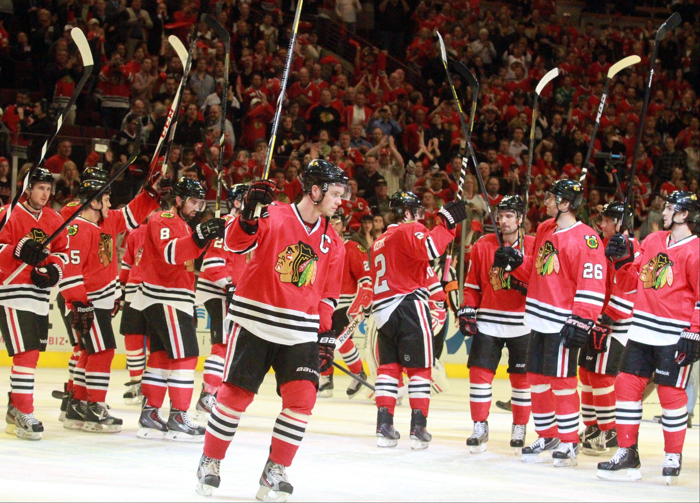 Chicago Blackhawks celebrate.