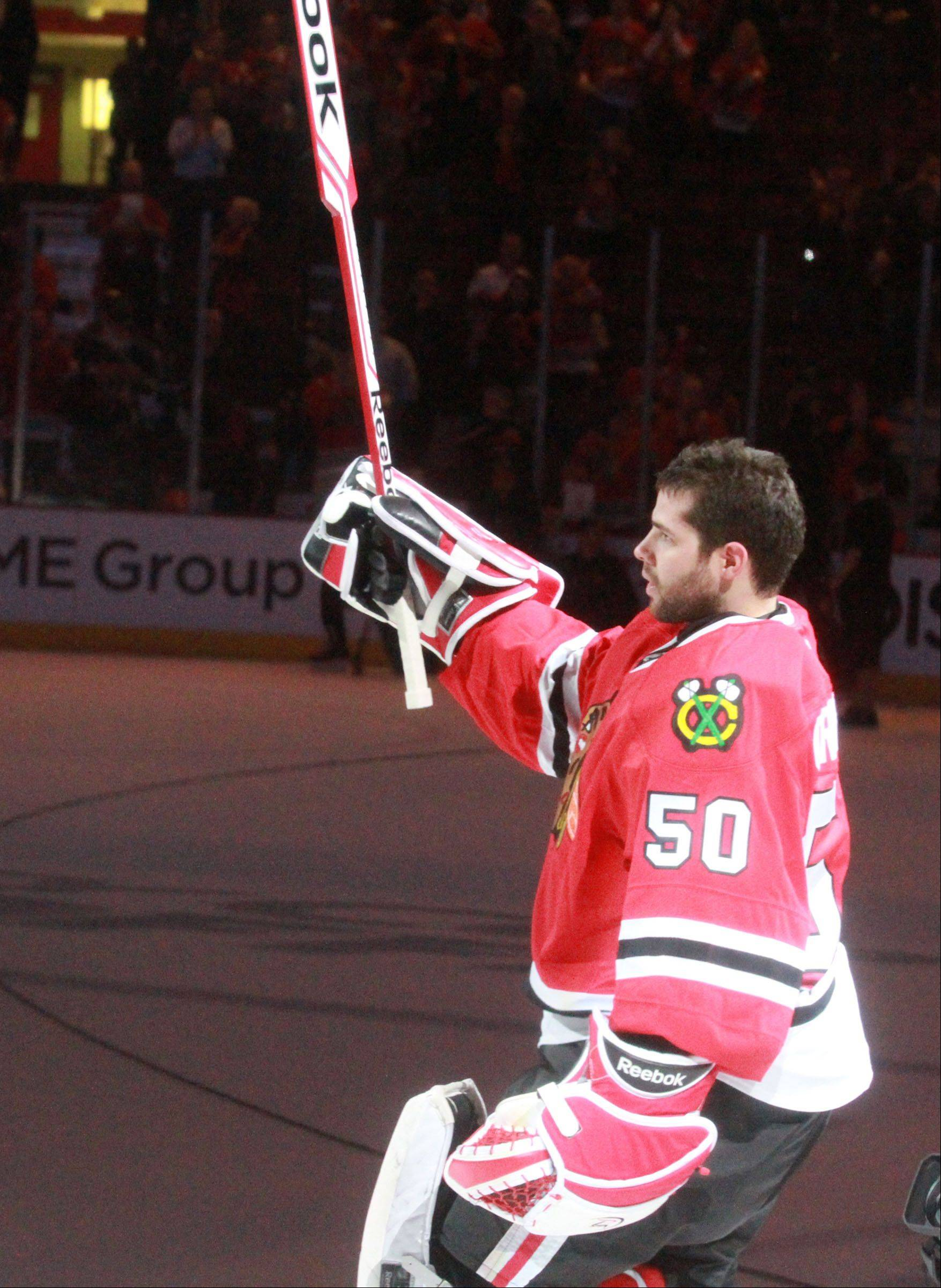 Chicago Blackhawks goalie Corey Crawford celebrates.