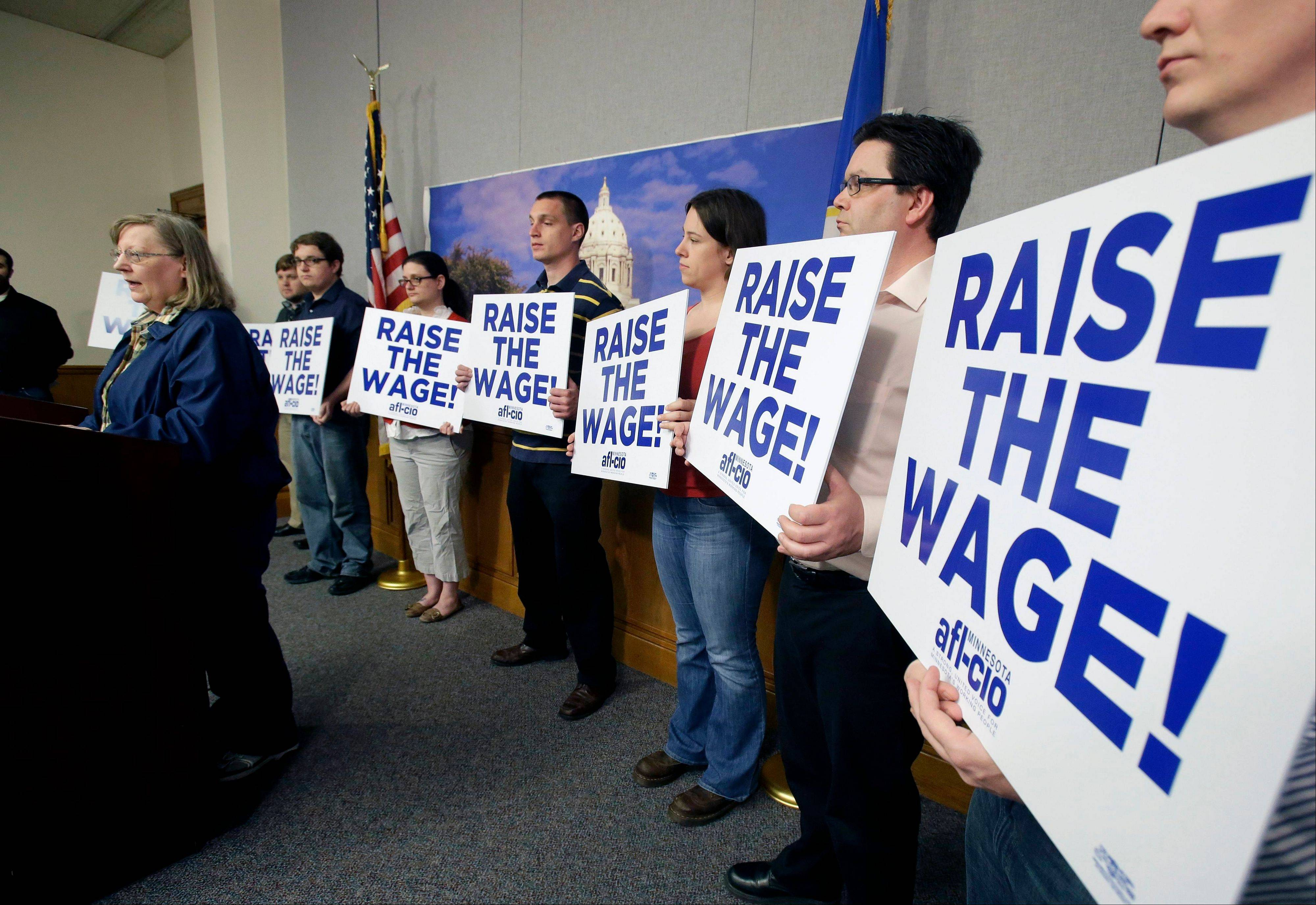 Associated Press/April 29 Lyle Cafe owner Barbara Johnson of Winthrop, Minn., speaks in support of a bill to raise Minnesota�s minimum wage during a news conference at the State Capitol in St. Paul. Seven out of 10 Americans want to raise the minimum wage.
