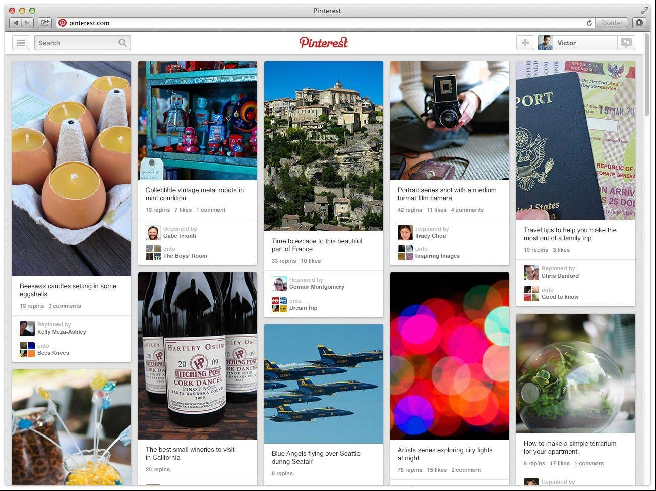 This undated image provided by Pinterest shows the popular link- and photo-sharing website's new updated site. The update now offers people a simpler navigation and new ways to arrange their boards to fit their needs. Although the haphazard spirit of Pinterest remains, the site is much less overwhelming.