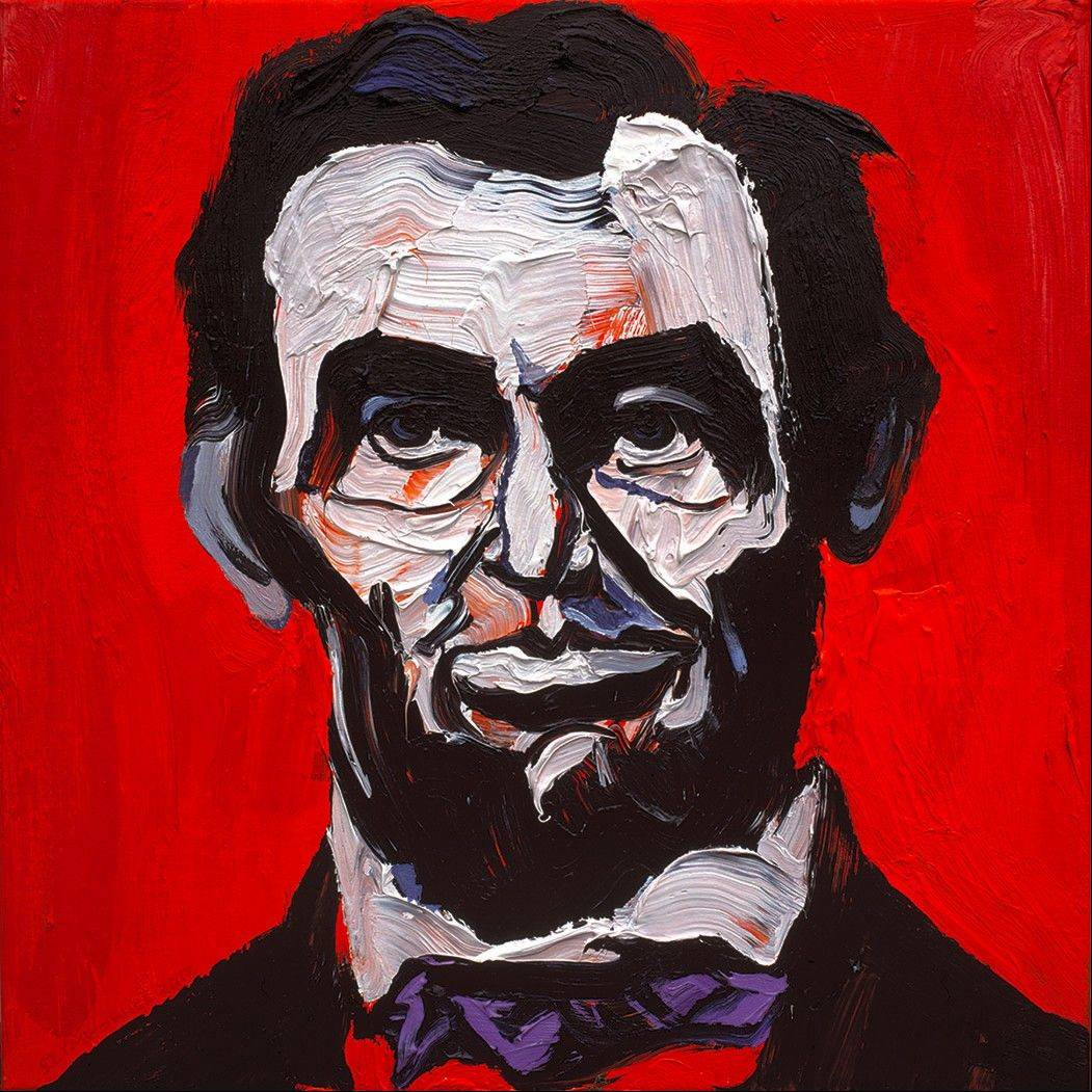 "Belgian artist Charles Szymkowicz's ""Abraham Lincoln"" is part of his exhibit ""Faces Behind the Truth: The Mirrors of Charles Szymkowicz"" at Oakton Community College's Koehnline Museum of Art in Des Plaines."